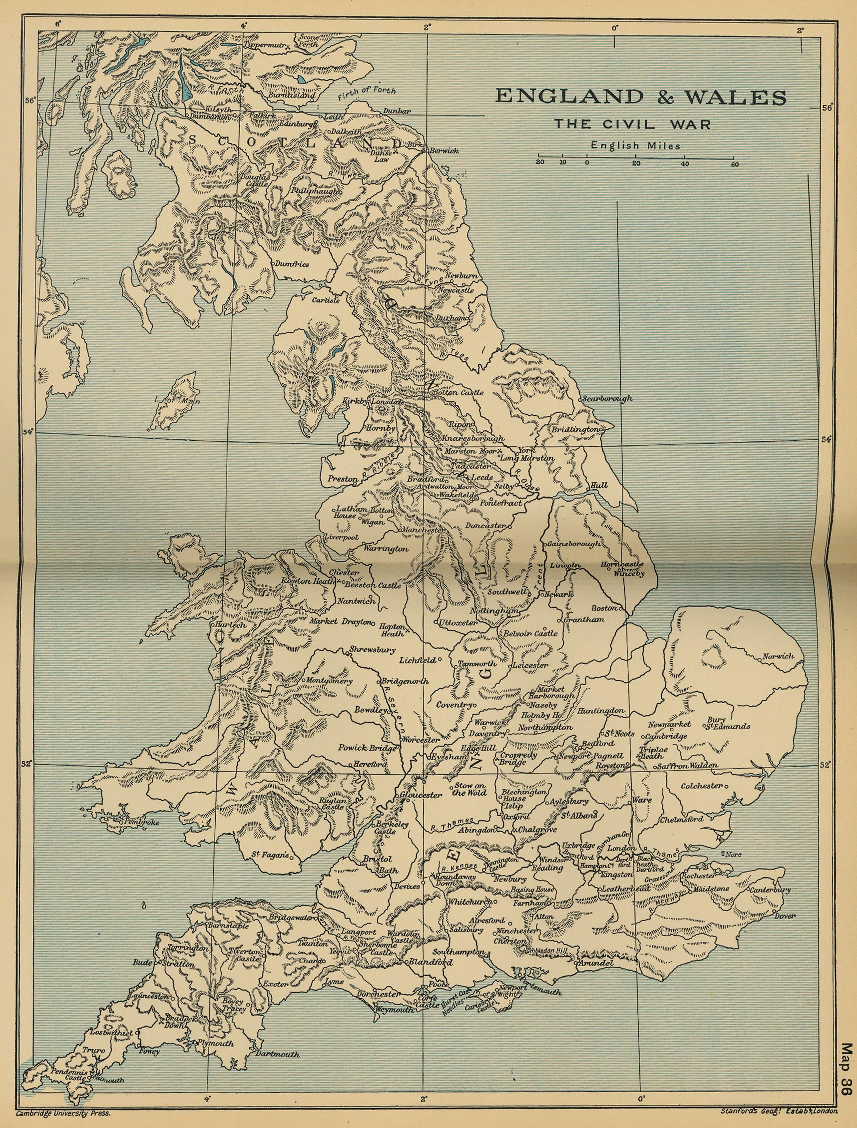 Map of England and Wales: The Civil War 1642-1651