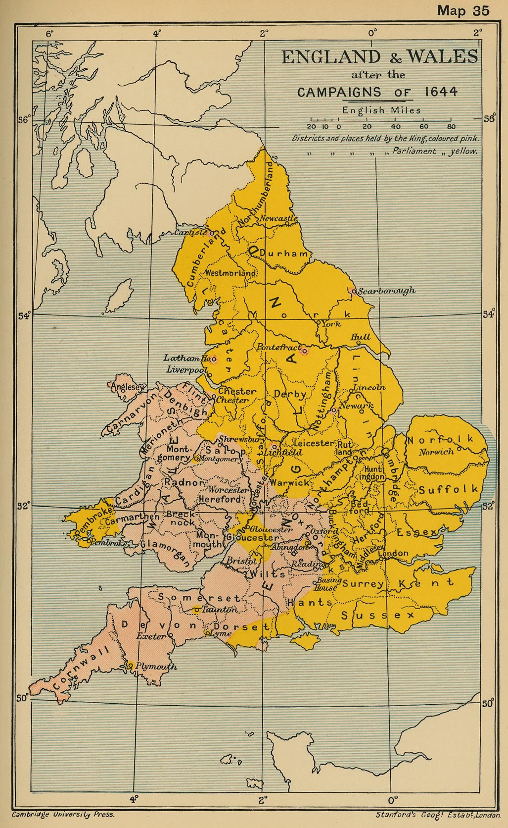 Map of England and Wales after the campaigns of 1644