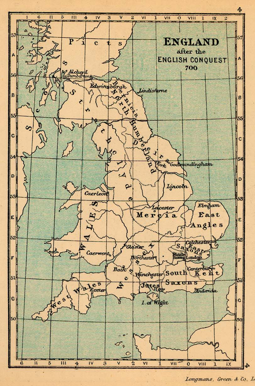 Map Of England 1600.Map Of England 700