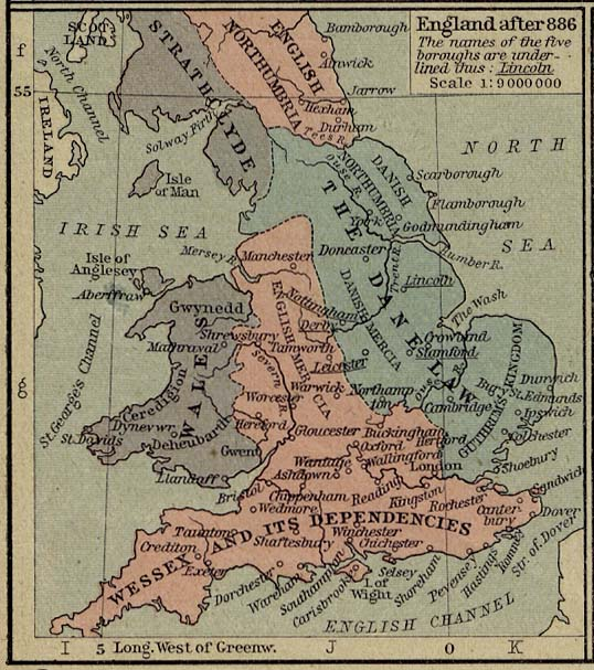 Map of england 878 map of the shires of england 10th century