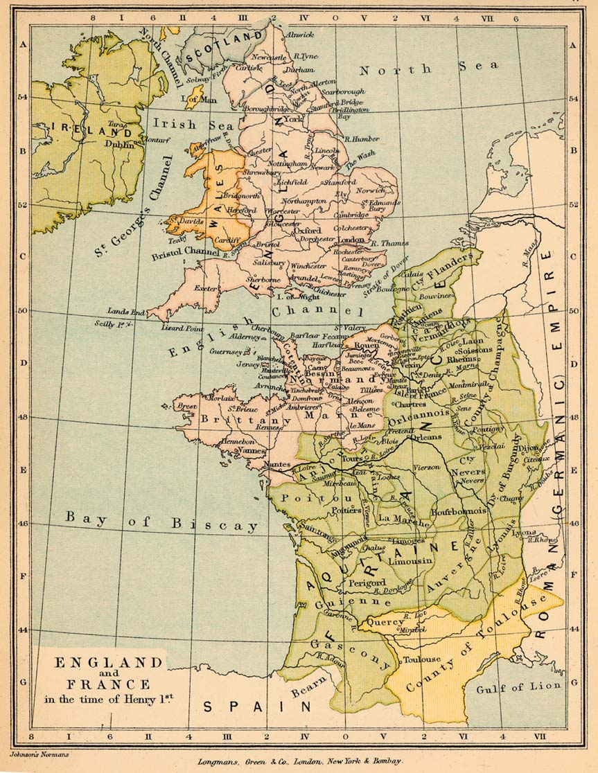 Map of England and France 1069-1135
