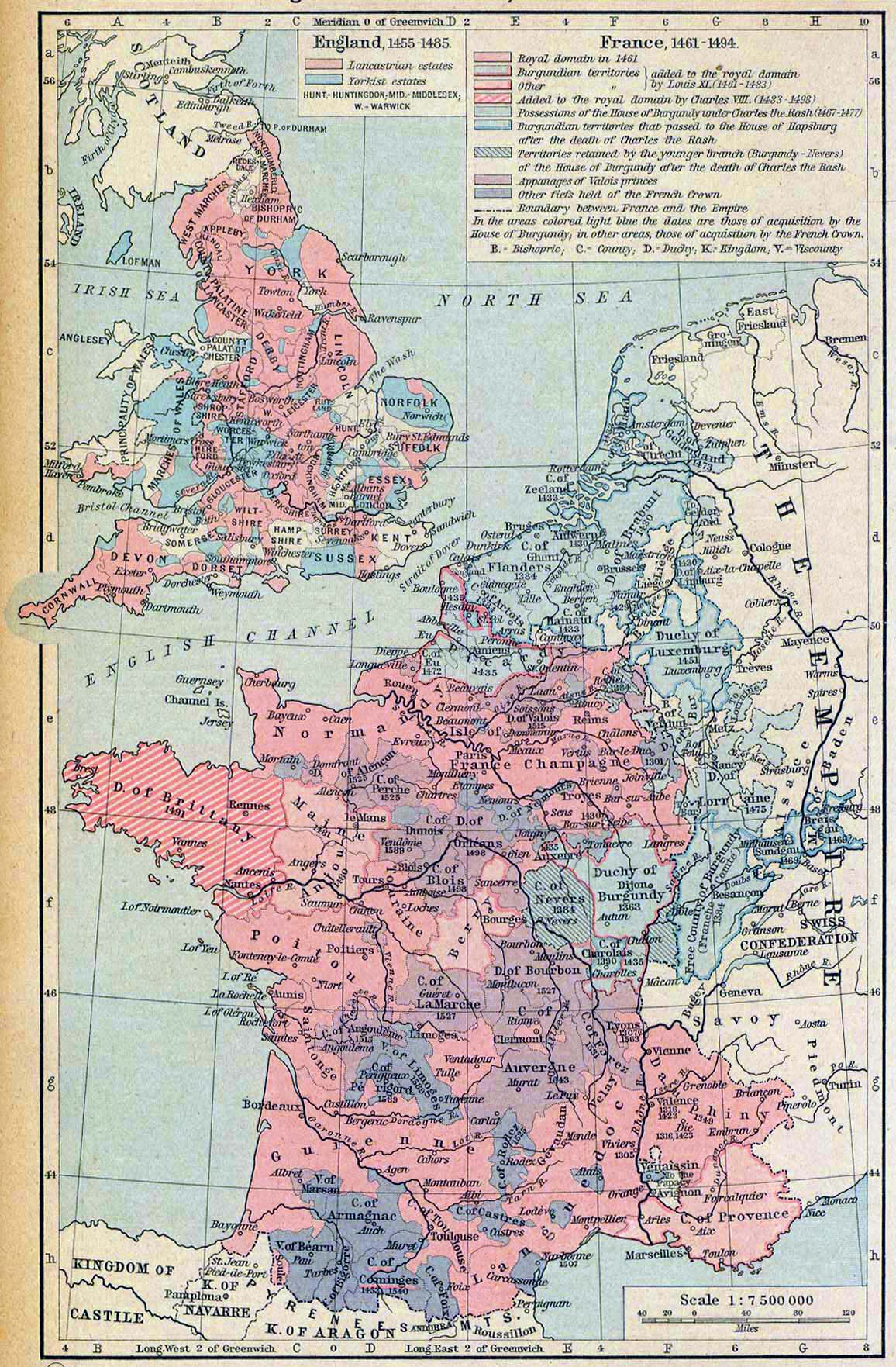 Map of England and France 1455-1494