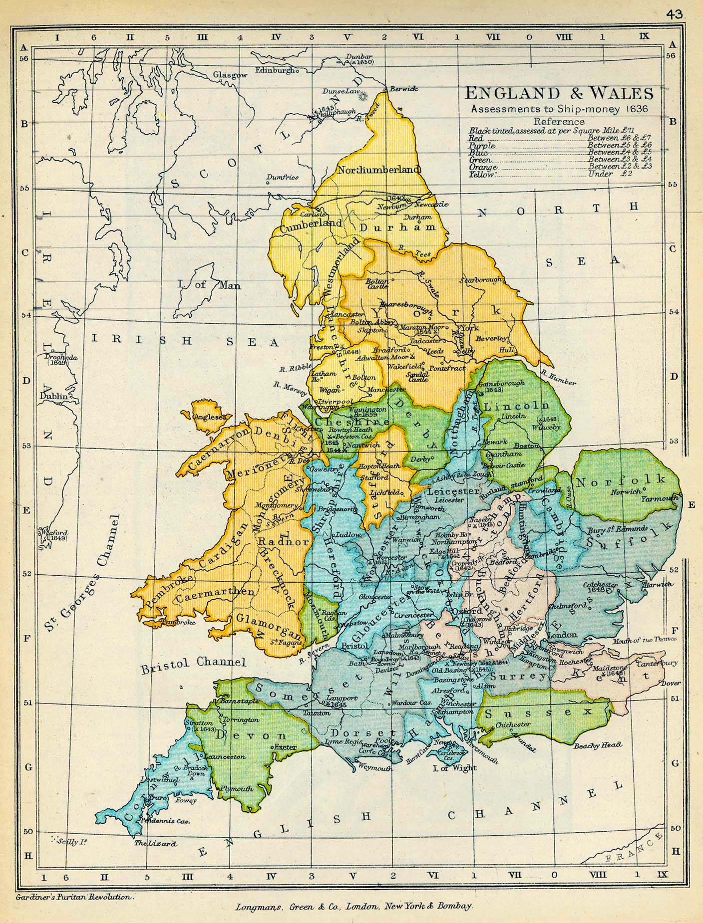 Map of England and Wales Assessments to Ship-money 1636