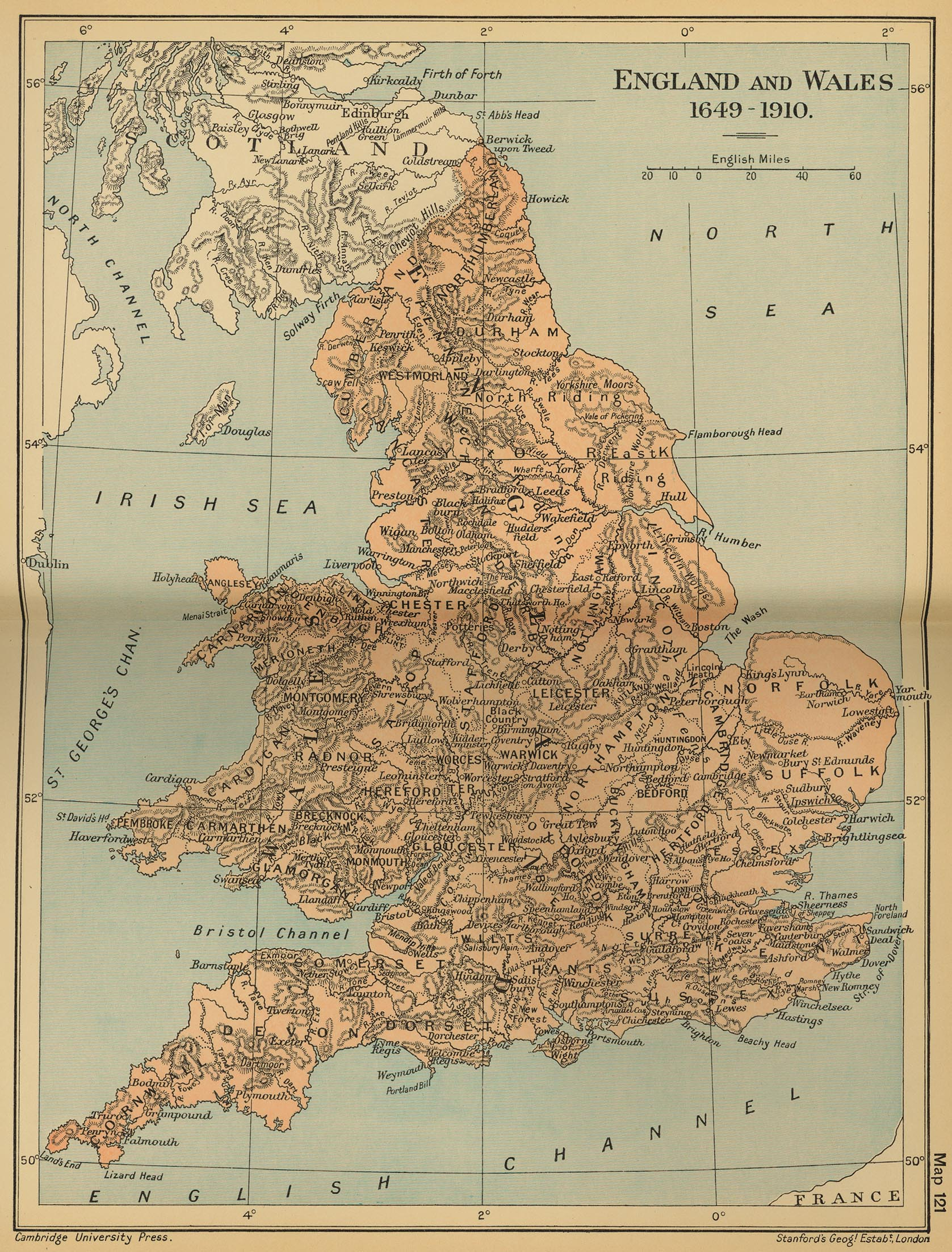 Map Of England And Wales.Map Of England And Wales 1649 1910