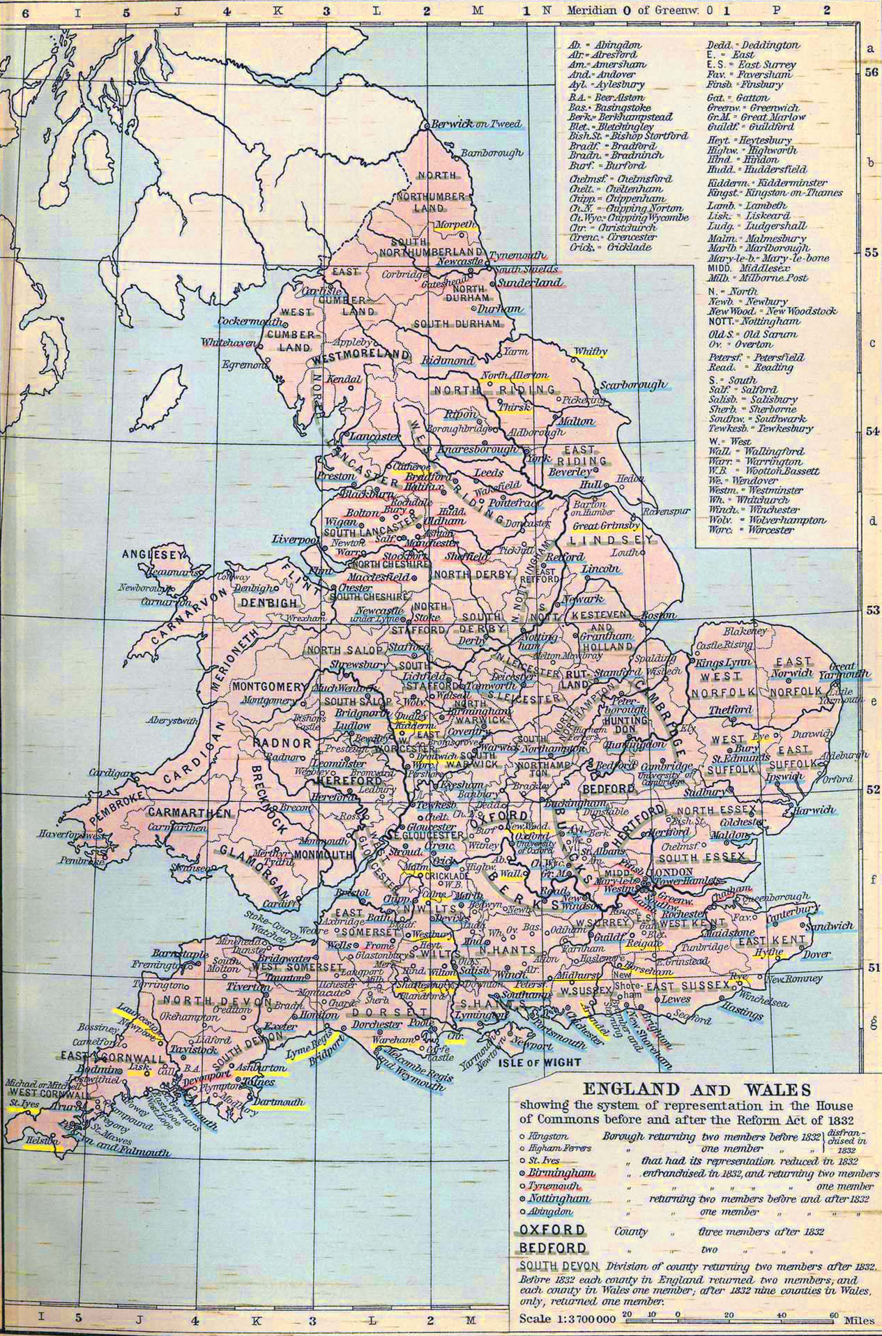 Map of England and Wales in 1832