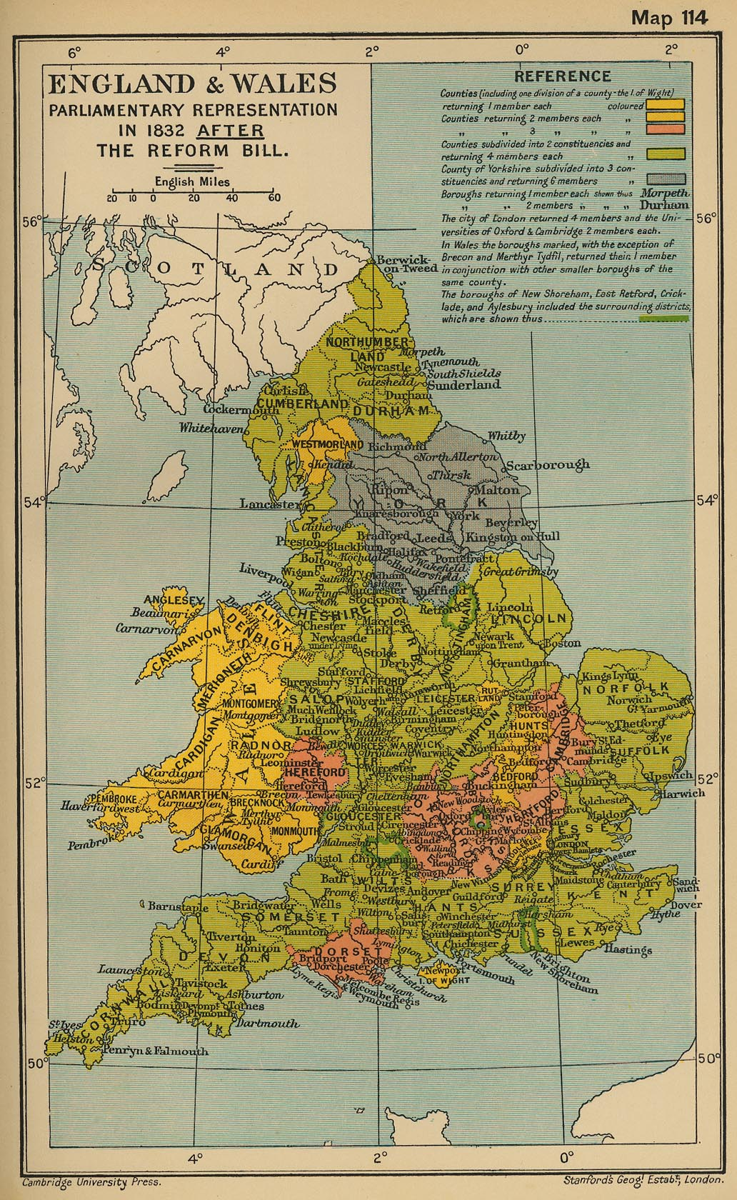 Historical Map of England and Wales: Parliamentary Representation in 1832 - After the Reform Bill