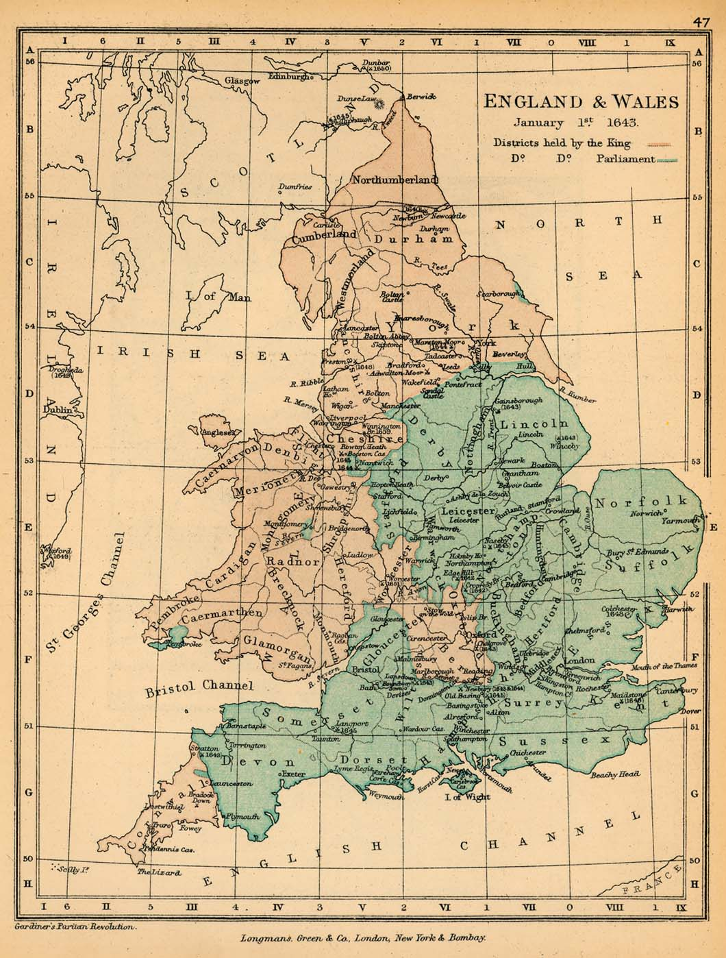 Map of England and Wales January 1, 1643