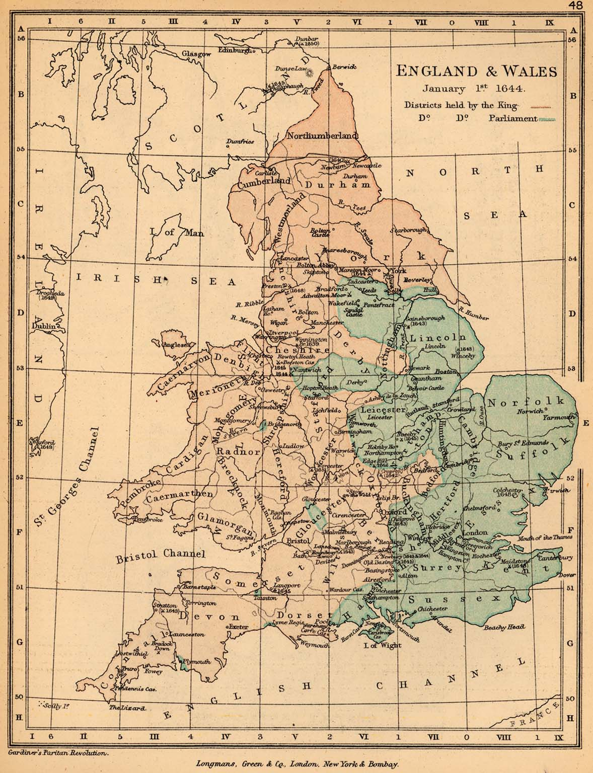 Map Of England 1600.Map Of England And Wales January 1 1644