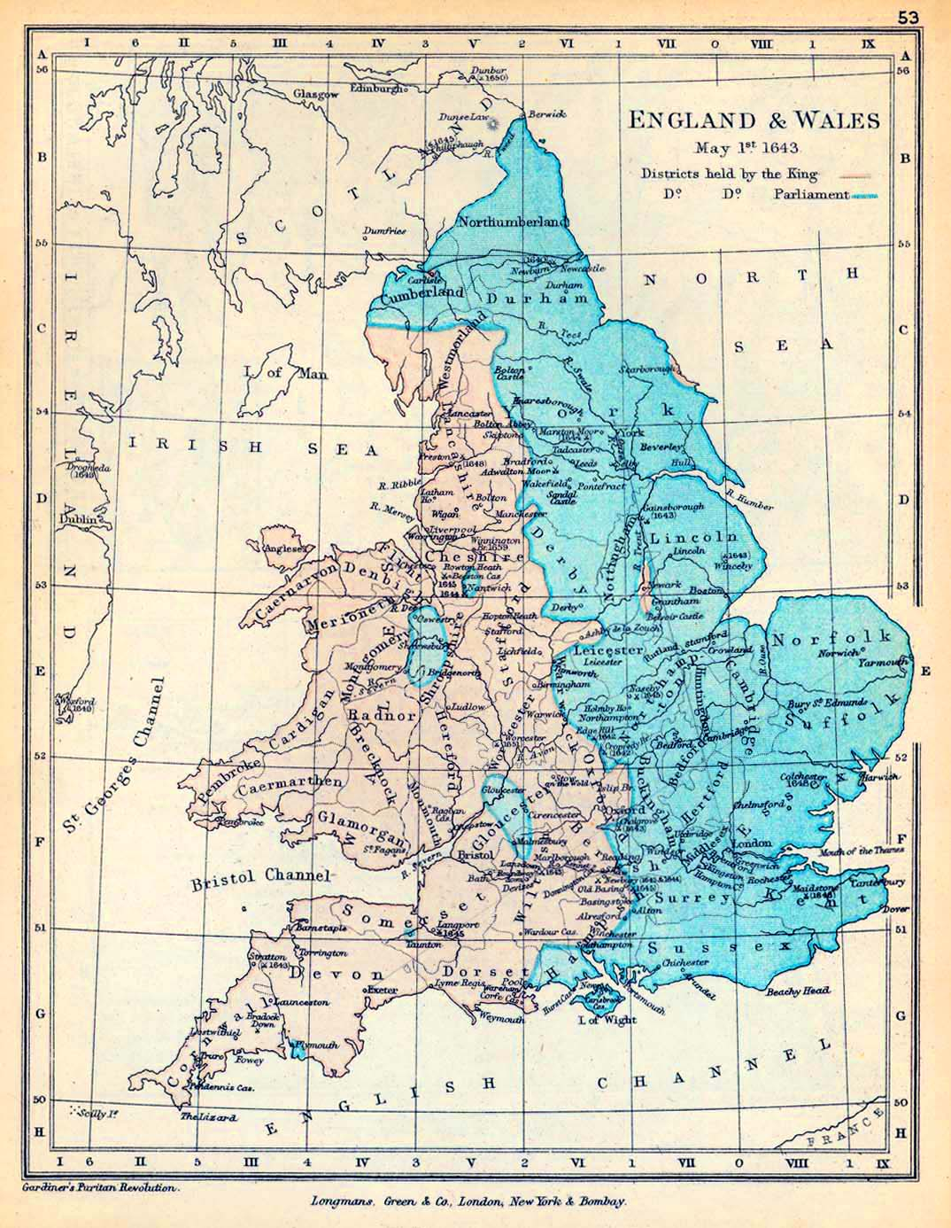 Map of England and Wales May 1, 1643