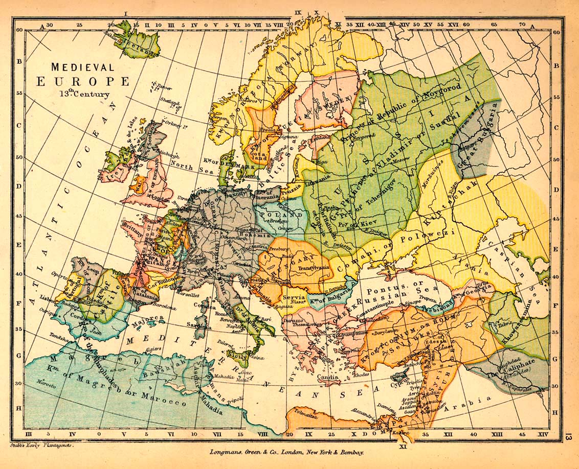 15th Century Map Of Europe.Map Of Medieval Europe In The 13th Century