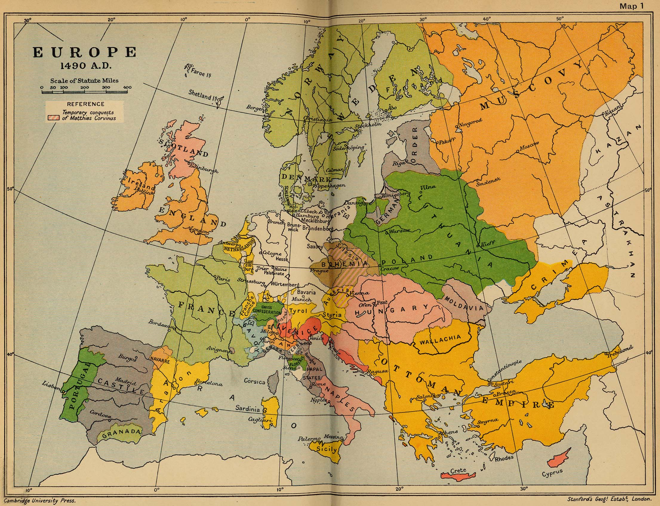Map of Europe 1490