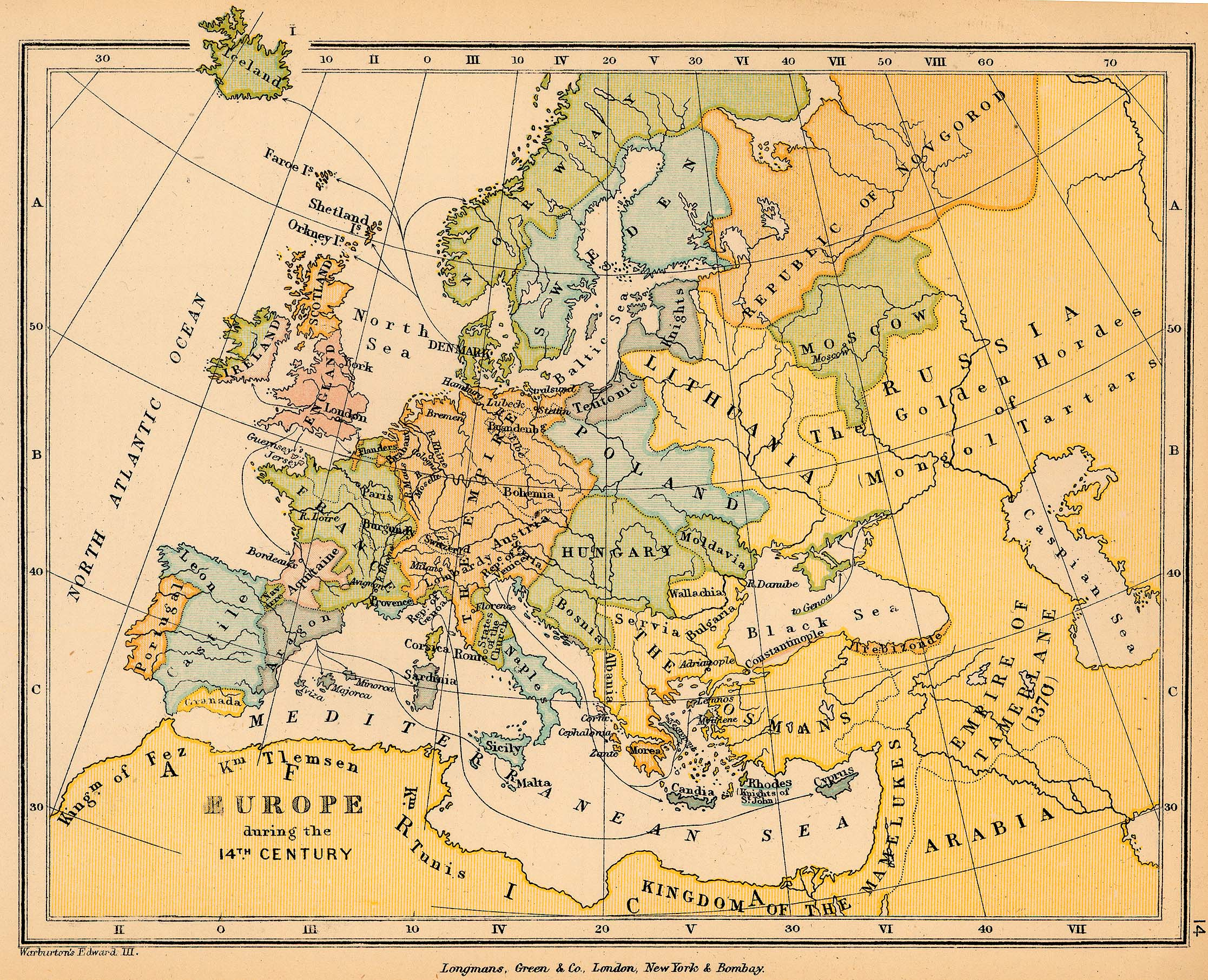 14th Century Map Of Europe.Map Of Europe During The 14th Century