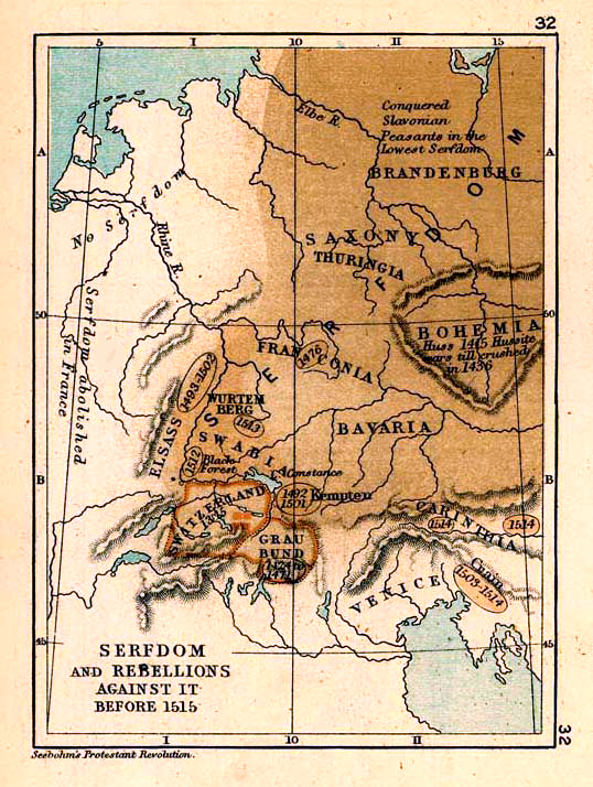 Map of the Serfdom and Rebellions against it before 1515
