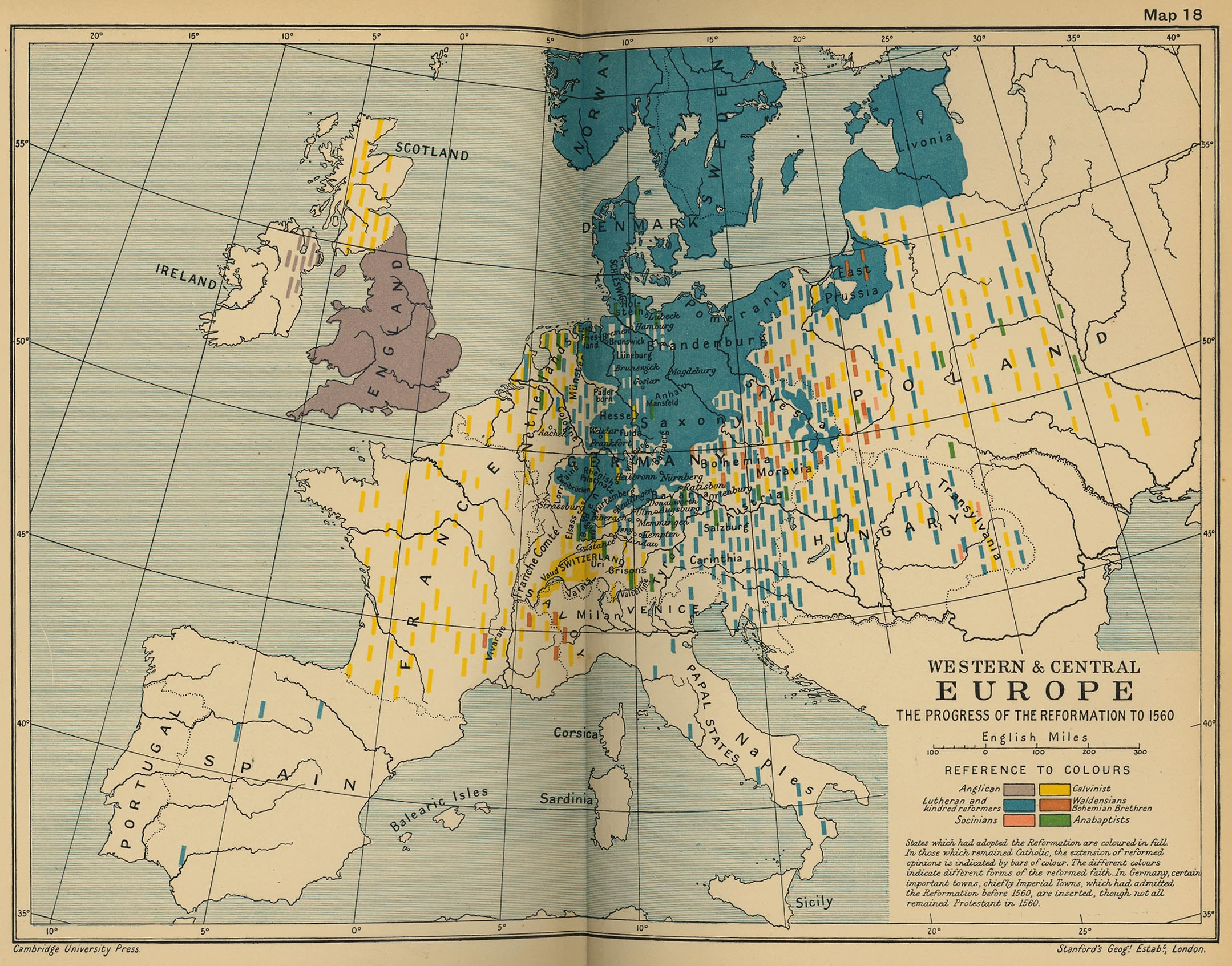 Map of Western and Central Europe - The Progress of the Reformation of 1560