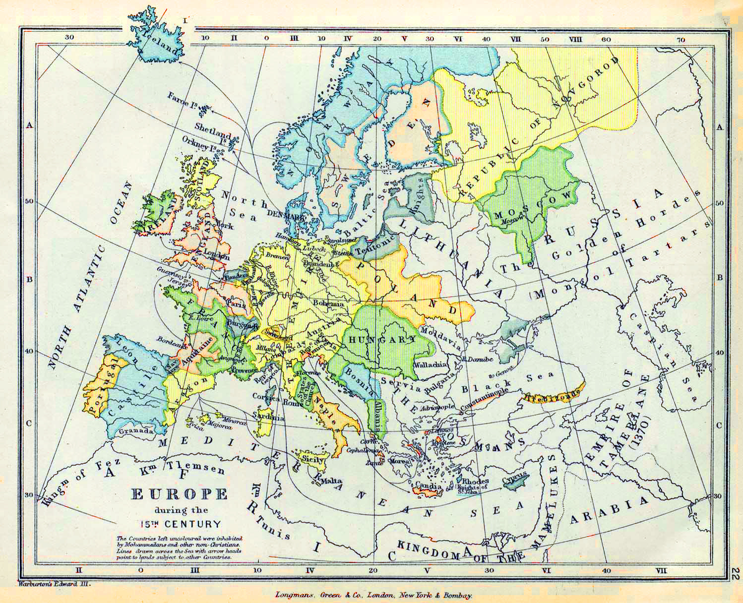 Map of Europe during the 15th Century