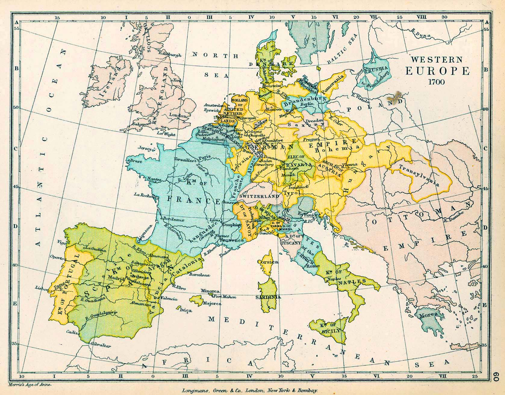 Map of Europe in 1700
