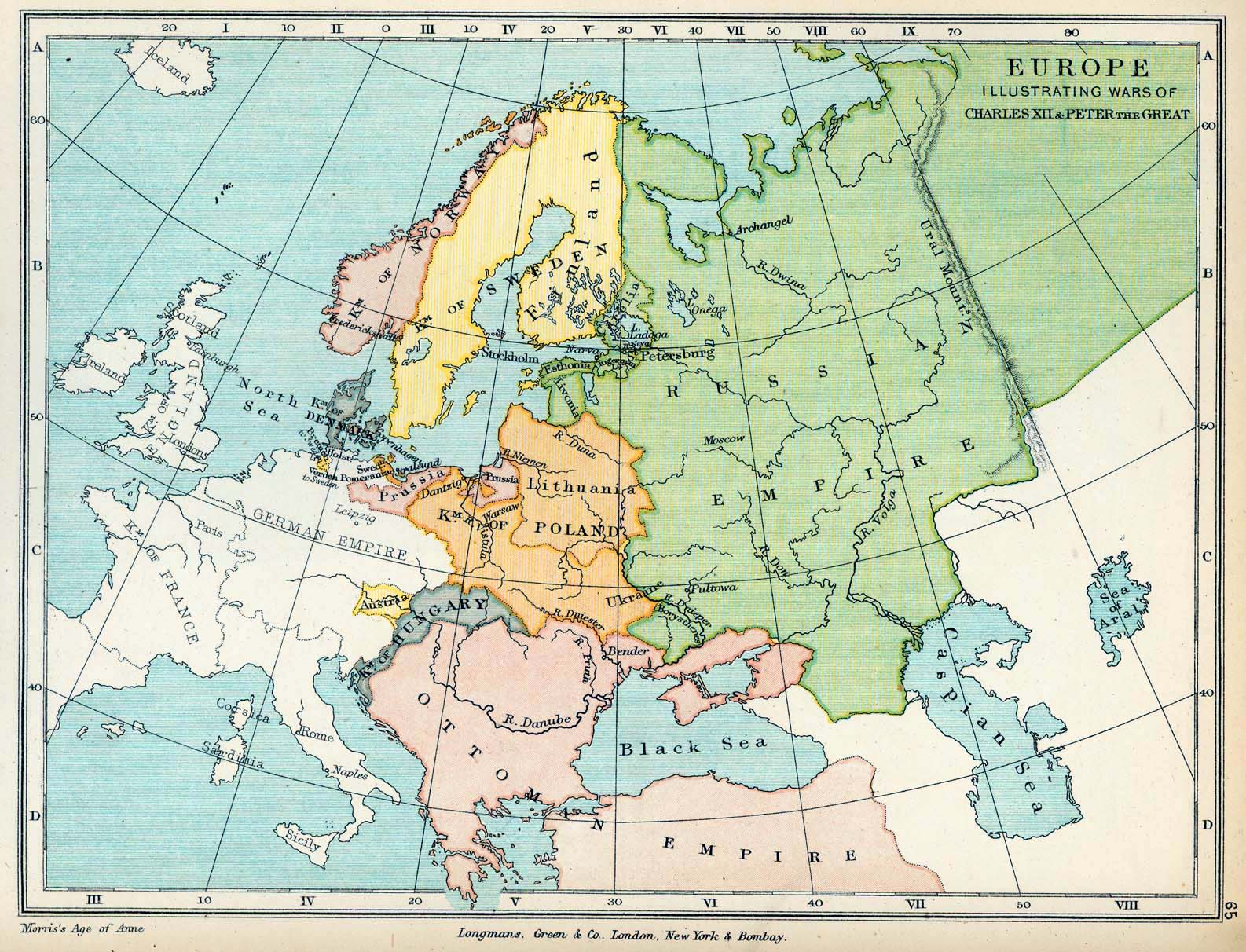 Map of Europe: The Wars of Charles XII and Peter the Great