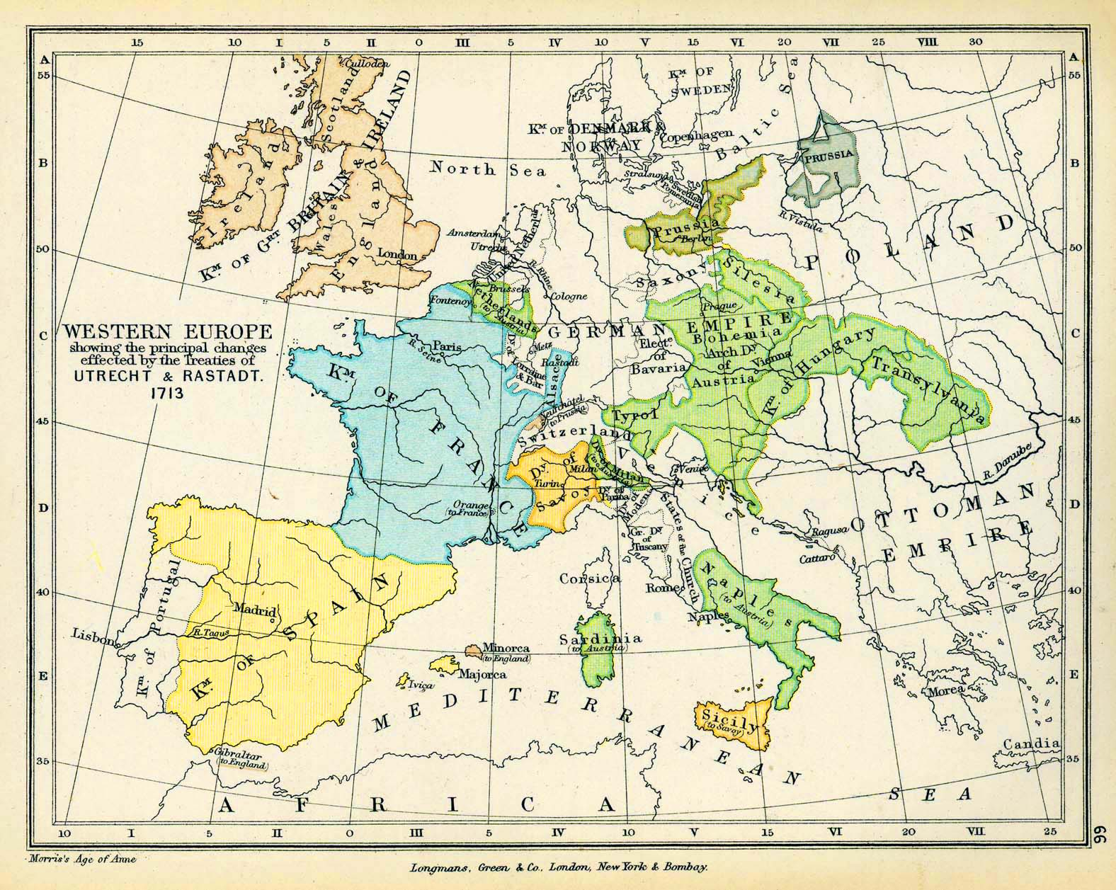 Map of Western Europe 1713: The Treaties of Utrecht and Rastatt