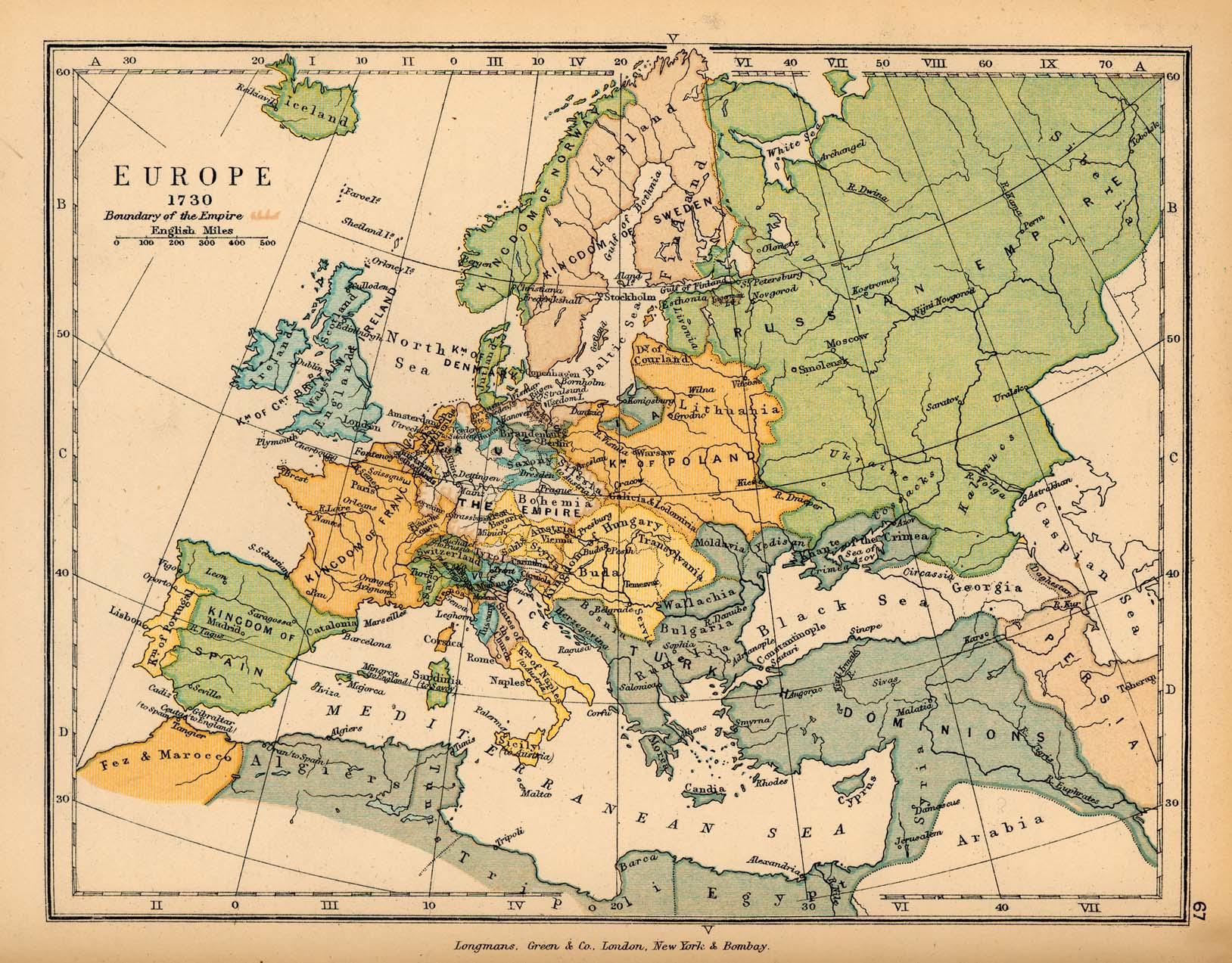 map of europe in 1730