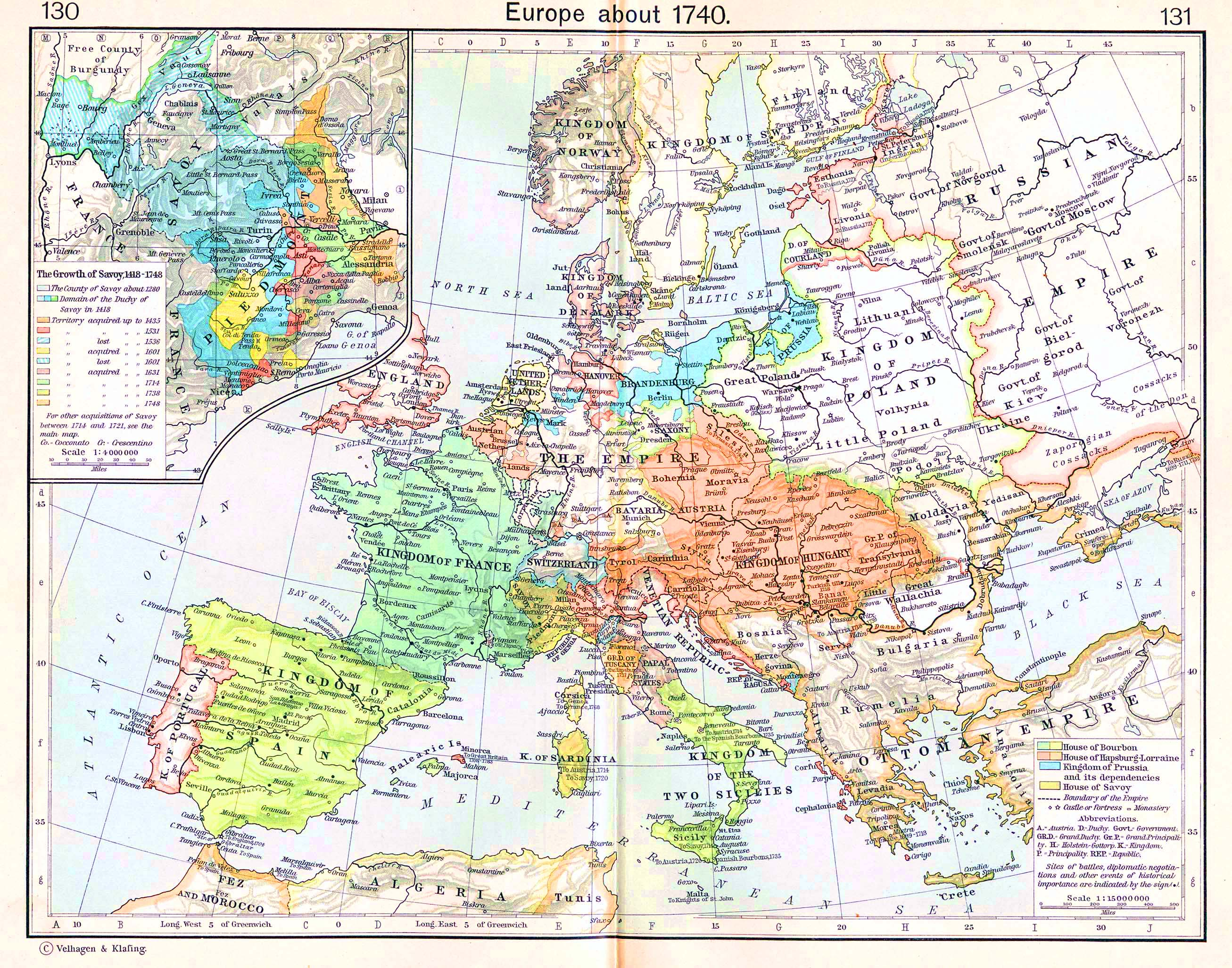 Map of Europe about 1740