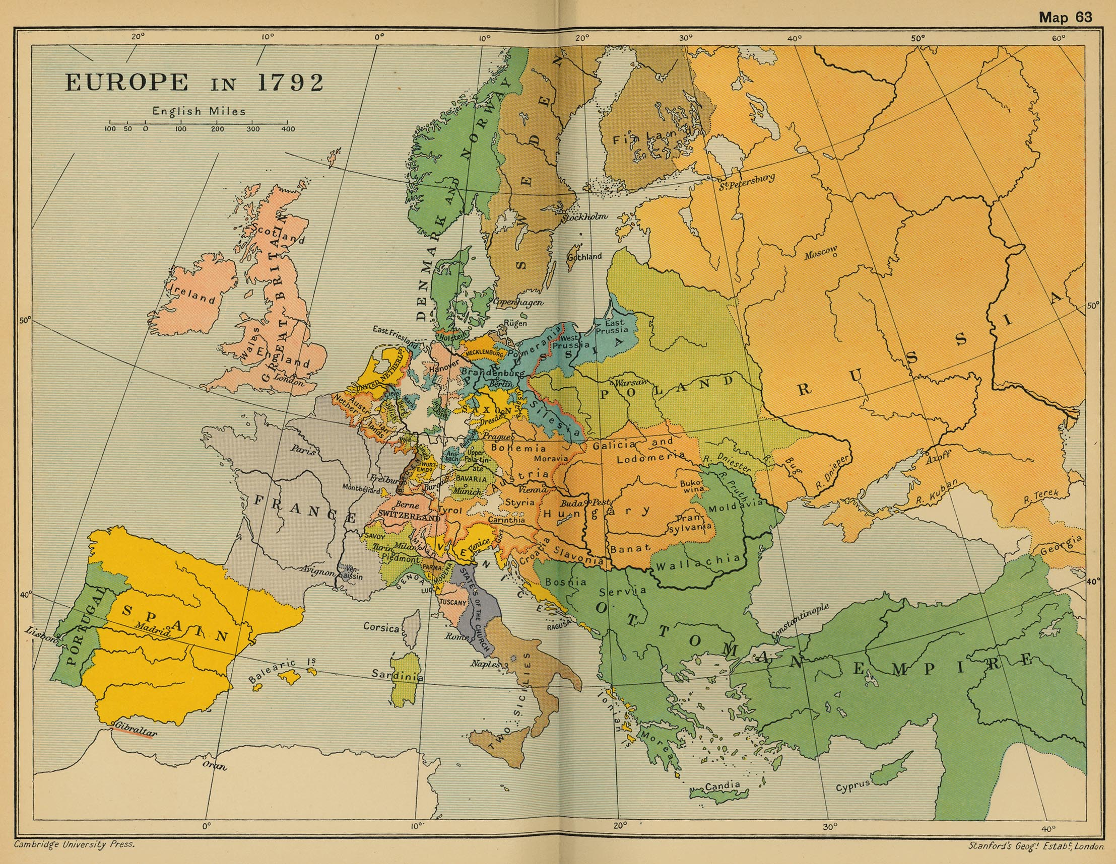 Map of Europe in 1792