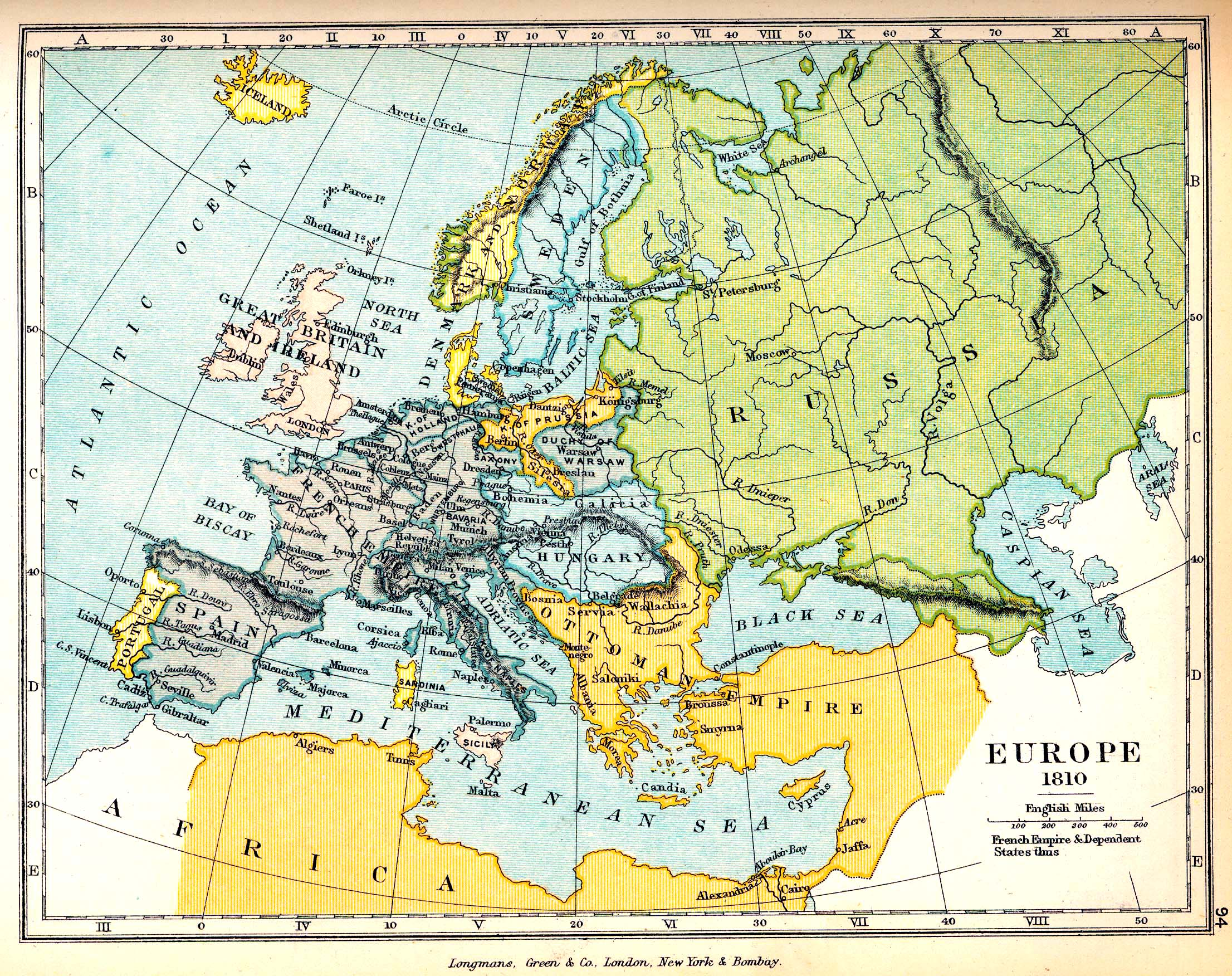 Map of Europe in 1810: The French Empire and Dependent States