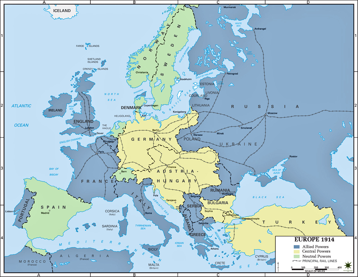 Of Europe Europe In 1914 Map
