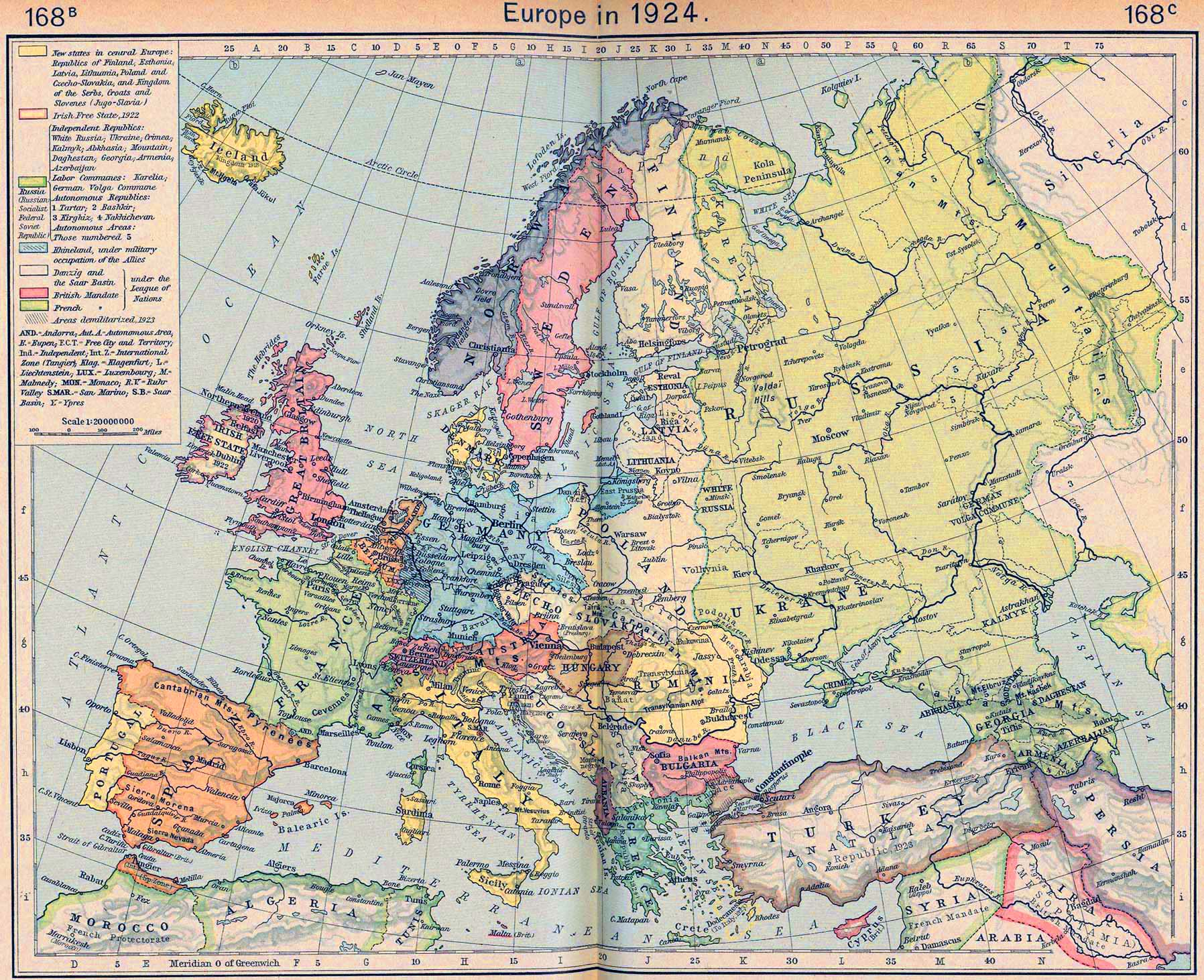 Map of Europe in 1924 – European Map of the World