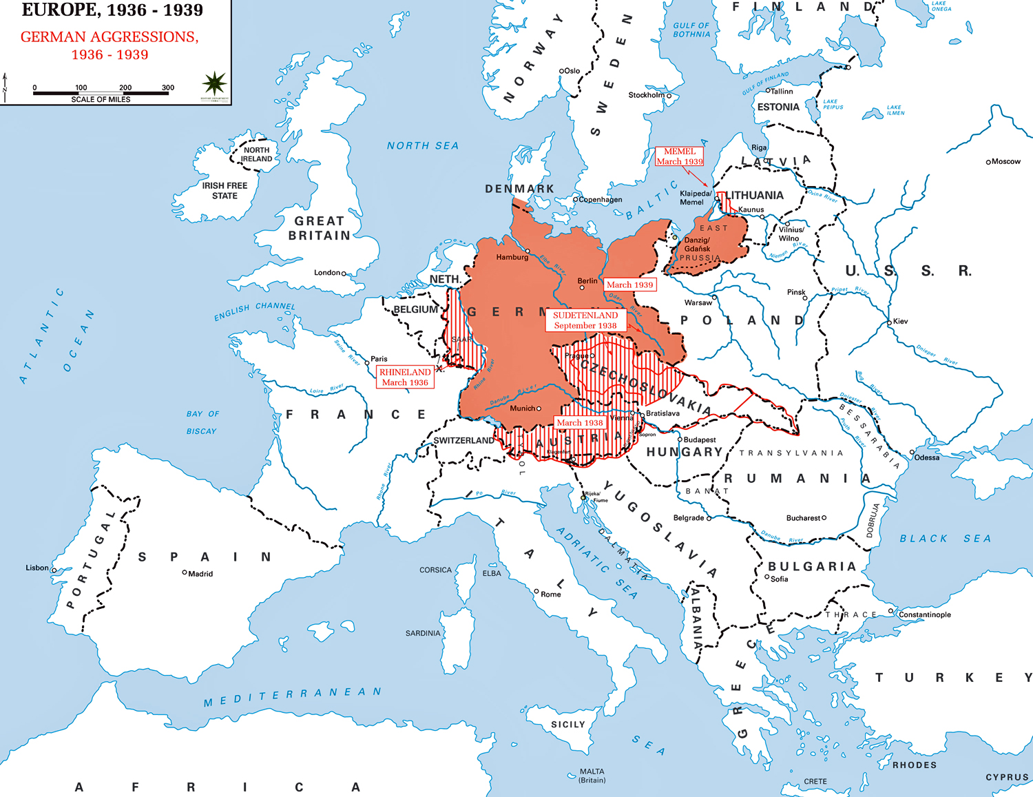 map of europe 1936 1939 german aggressions