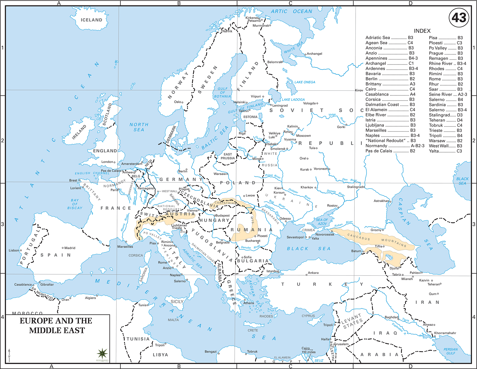 Map of Europe and the Middle East 1943