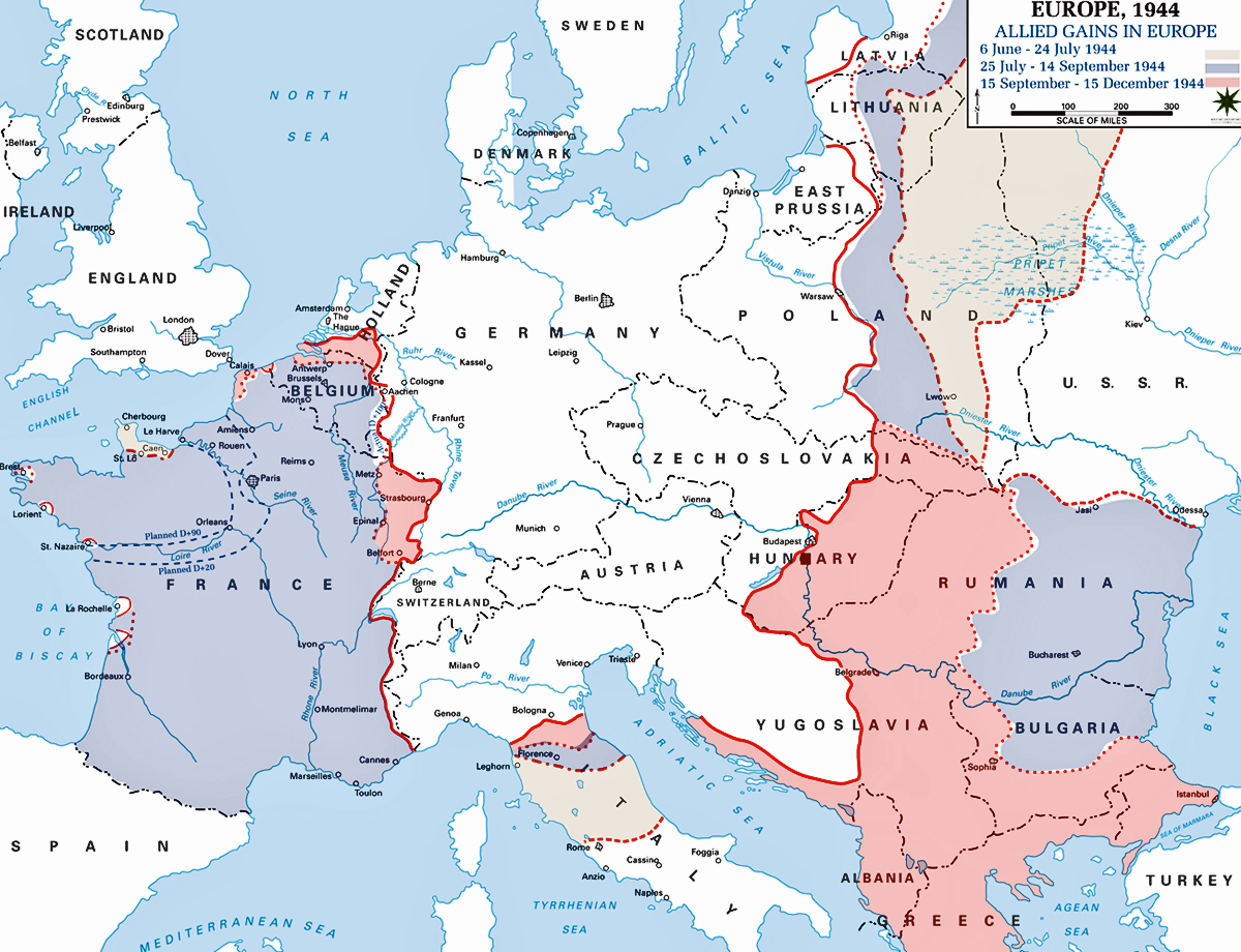 Map Of Europe In 1944
