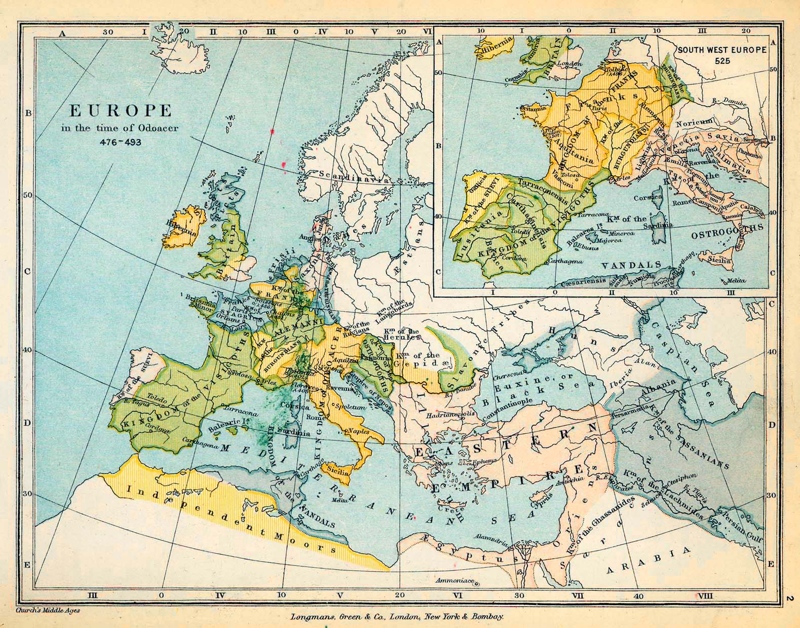 Map of Europe in the time of Odoacer 476-493