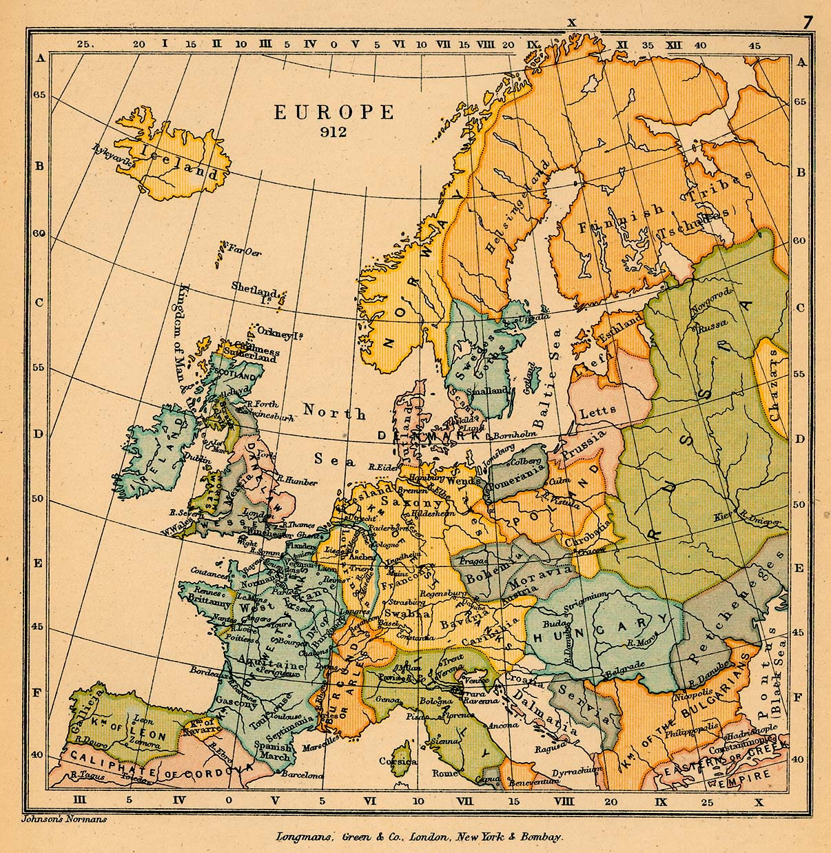 map of europe in 912