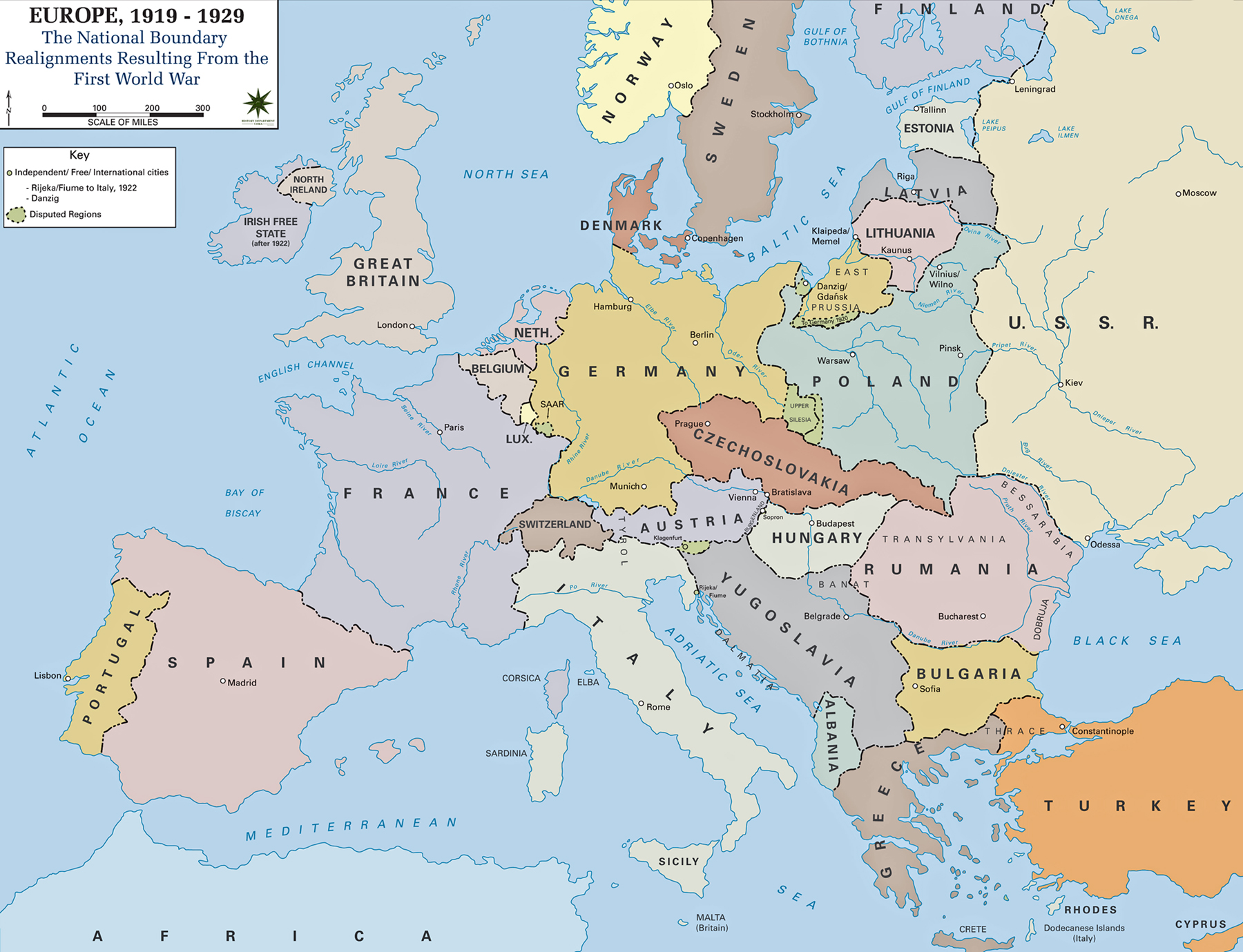 Map of Europe in 1919