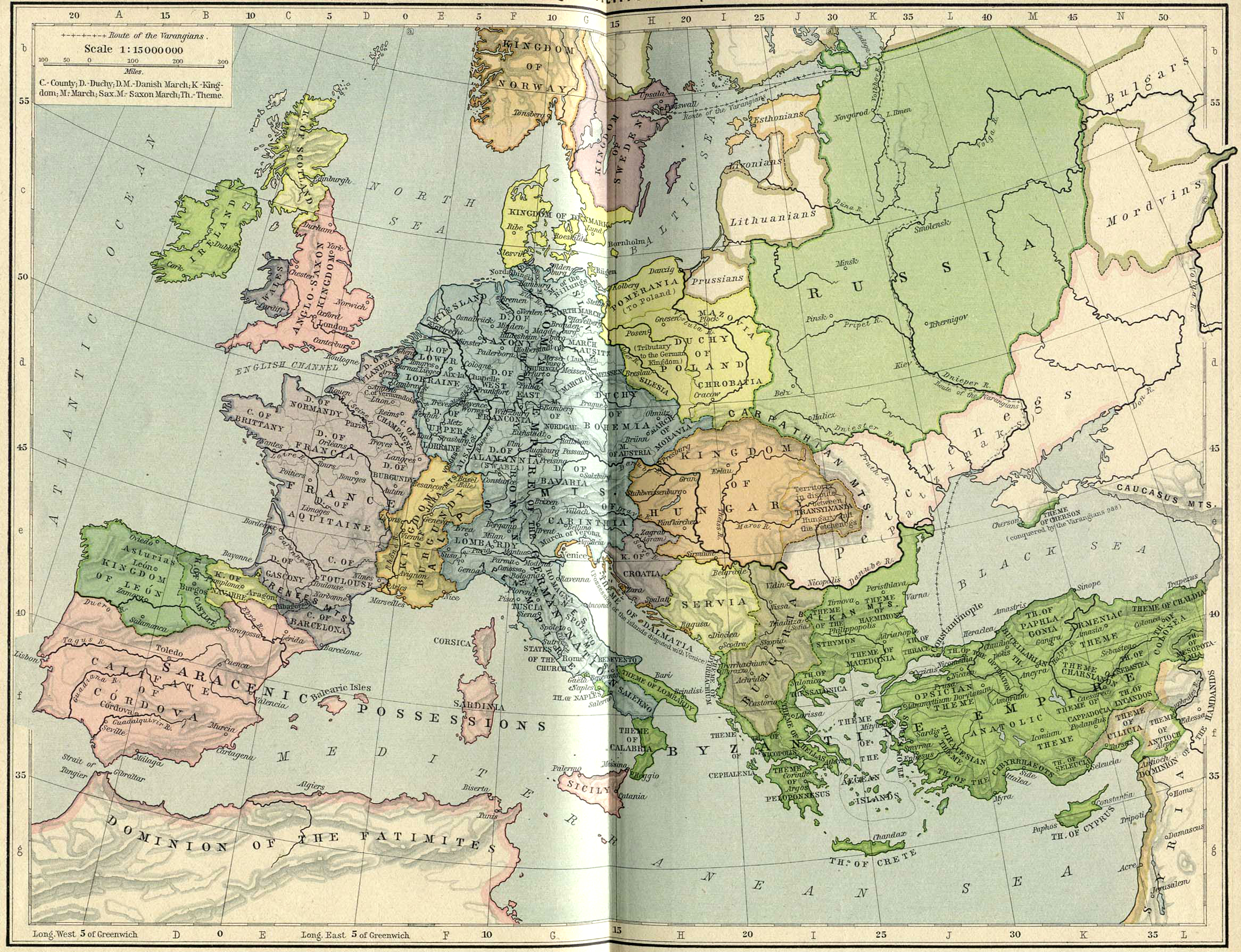 Map Of Europe In 1000.Map Of Europe And The Byzantine Empire About 1000