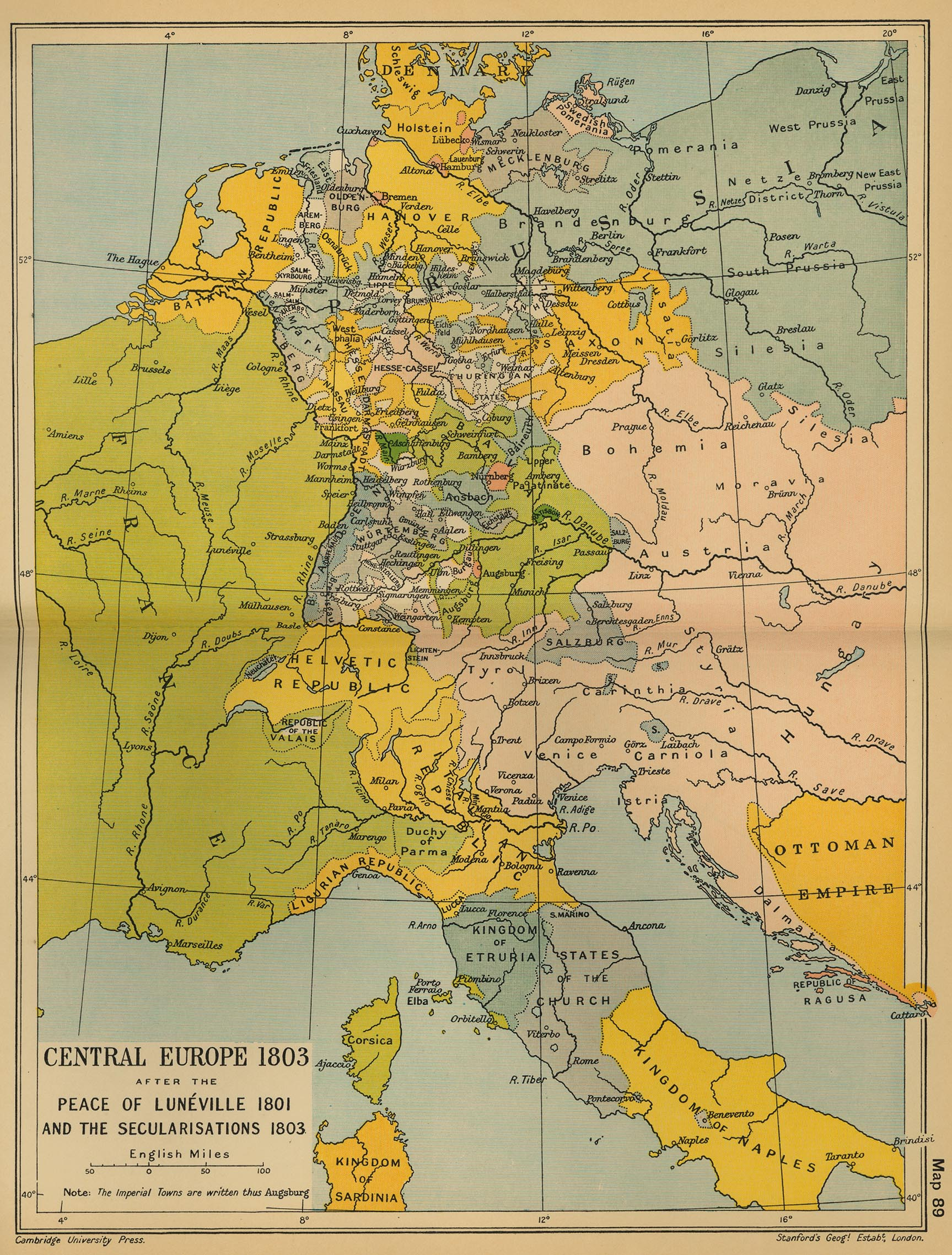 Map of Central Europe in 1803