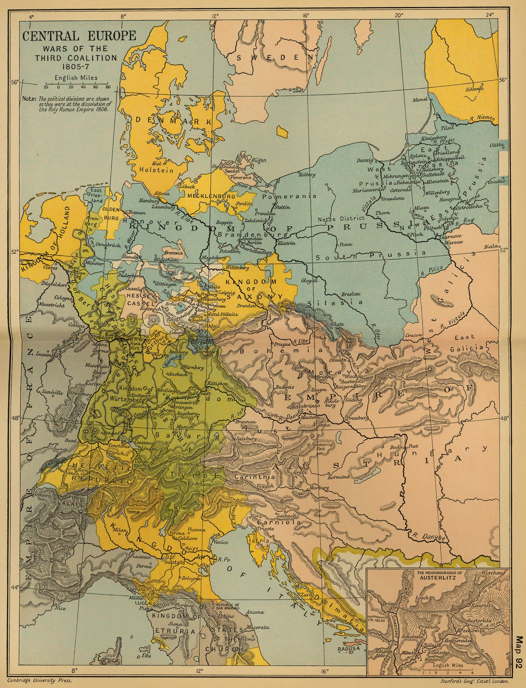 Map of Central Europe 18051807 The War of the Third Coalition