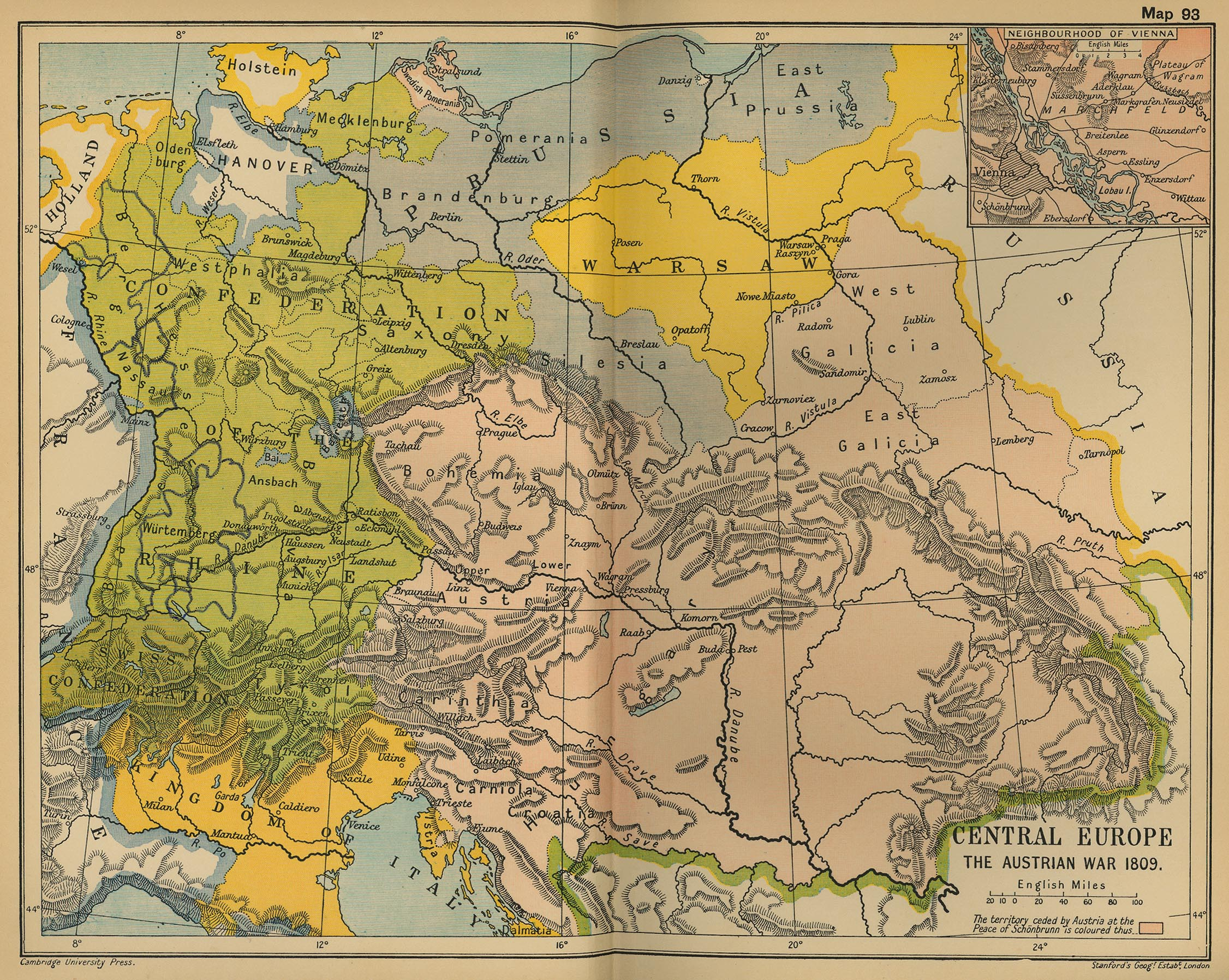 Map of Central Europe 1809: The Austrian War and the Treaty of Schoenbrunn