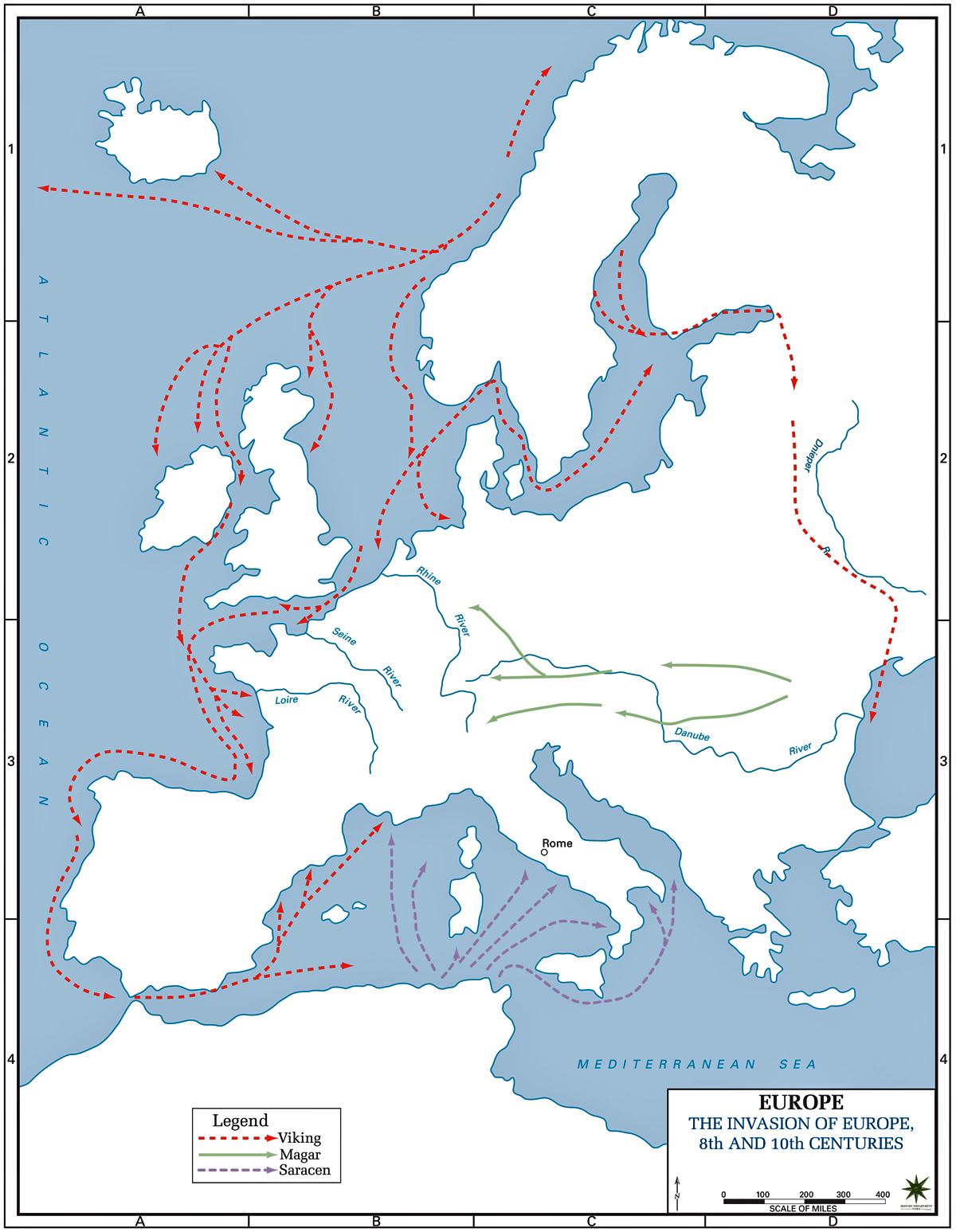 Map of the Invasions of Europe 8-10th Century