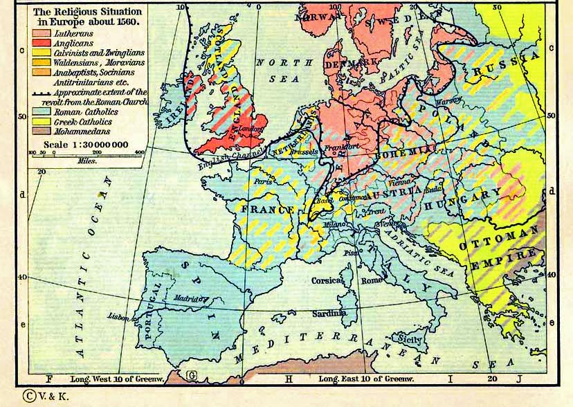 Map of Europe in 1560 Religion