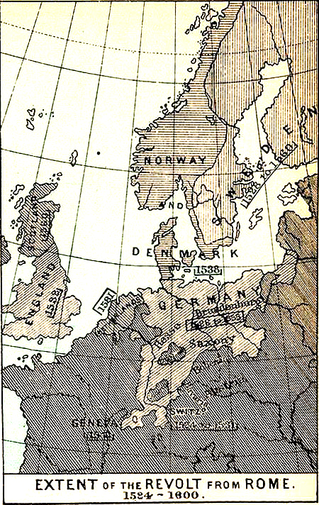 1600 Europe Map.Map Of Europe The Revolt From Rome 1524 1600