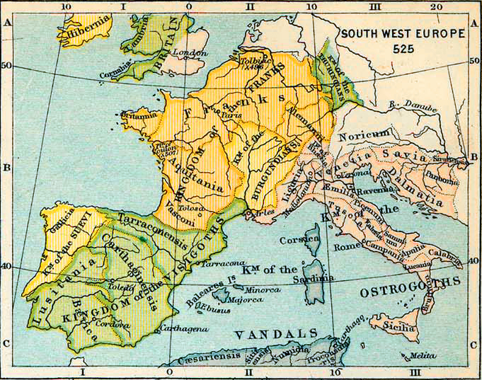 Map of South West Europe 525