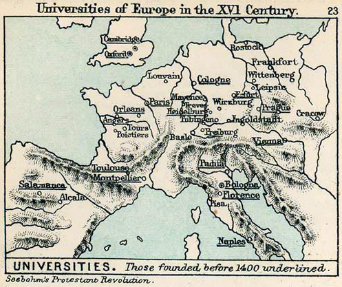 Map Of Europe Th Century Universities - Europe map 15th century