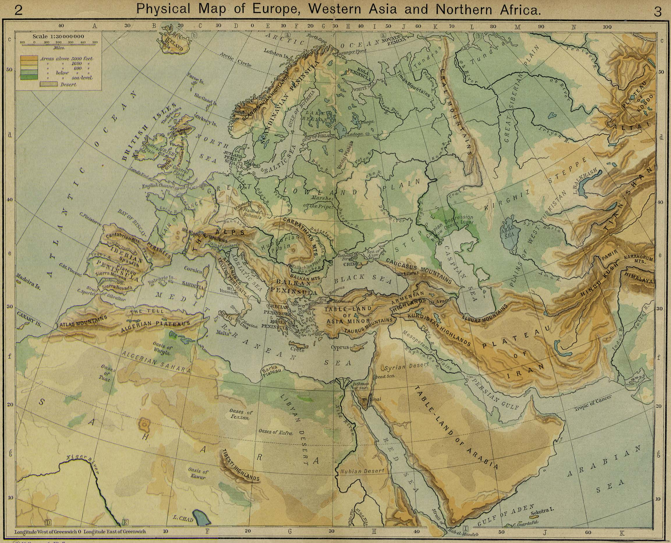 North West Asia Map.Physical Map Of Europe Western Asia And Northern Africa