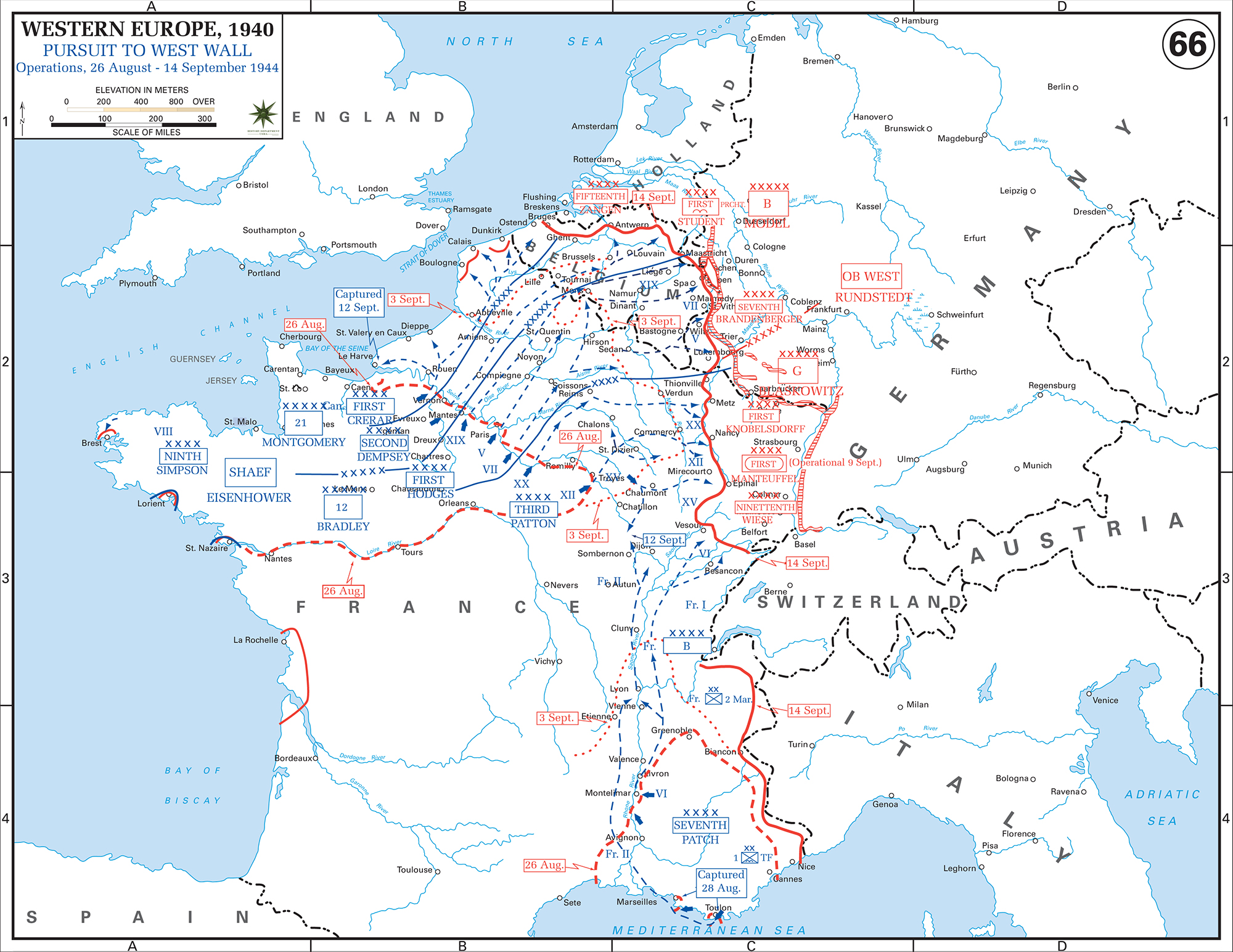 Map Of Wwii Western Europe Aug 26 Sept 14 1944