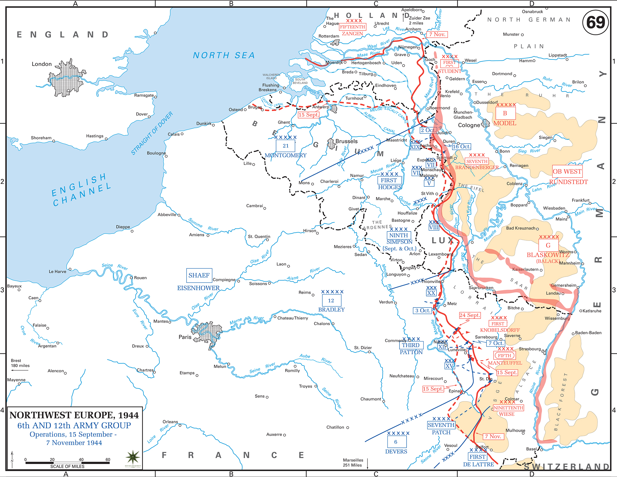 Map of WWII: Western Europe Sept 15 - Nov 7, 1944