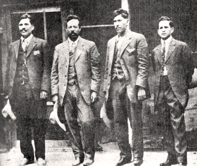 LEFT TO RIGHT: Rodolfo Fierro, Pancho Villa, Jos� Rodr�guez, and a journalist