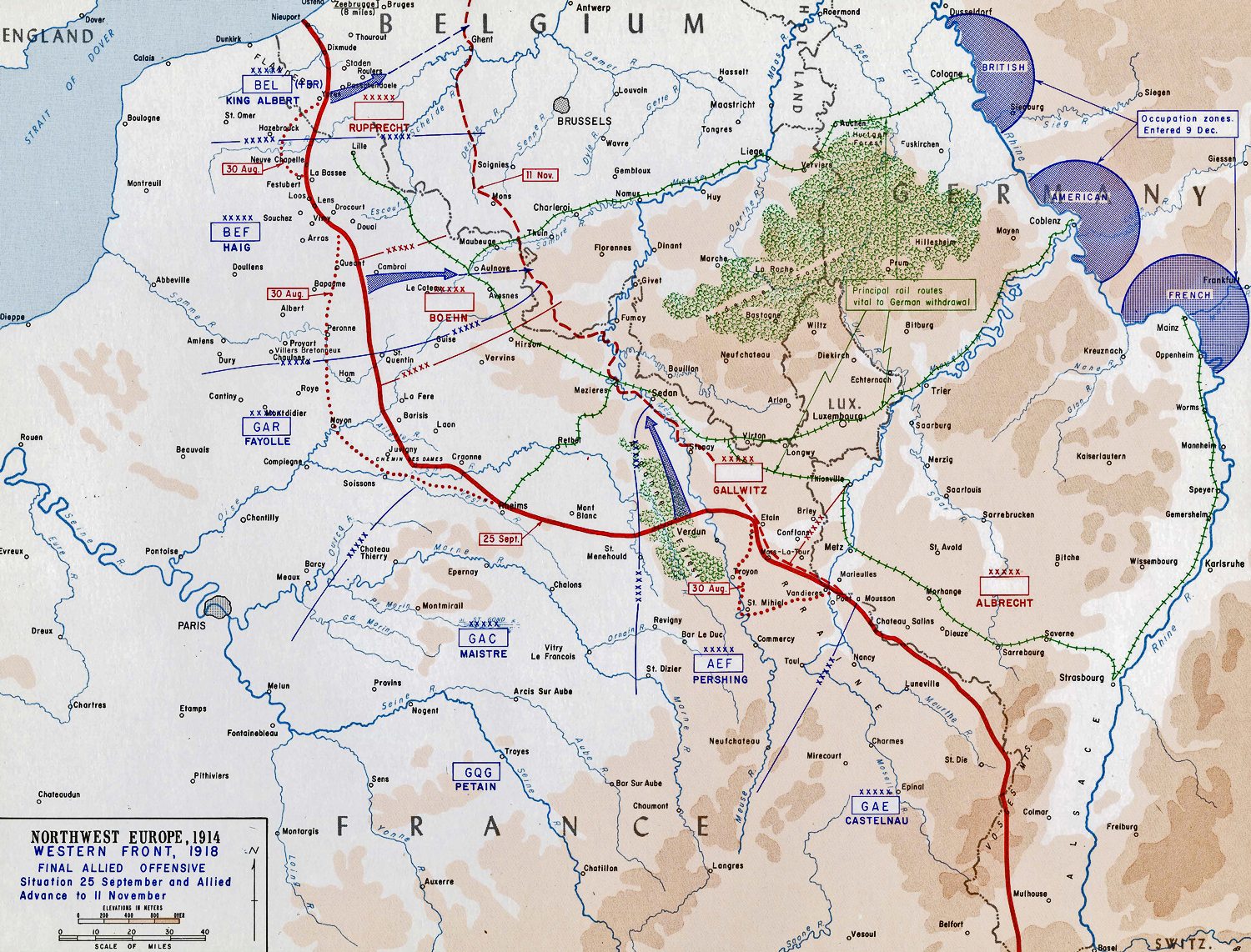 Map of WWI: Western Front - Sept 25-Nov 11, 1918 - Final Allied Offensive