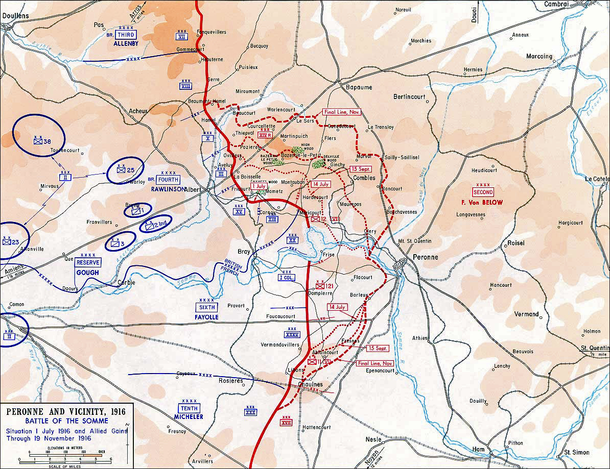 map of the first battle of the somme jul 1 nov 13 1916
