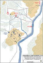 Map of the First Battle of Saratoga - September 19, 1777